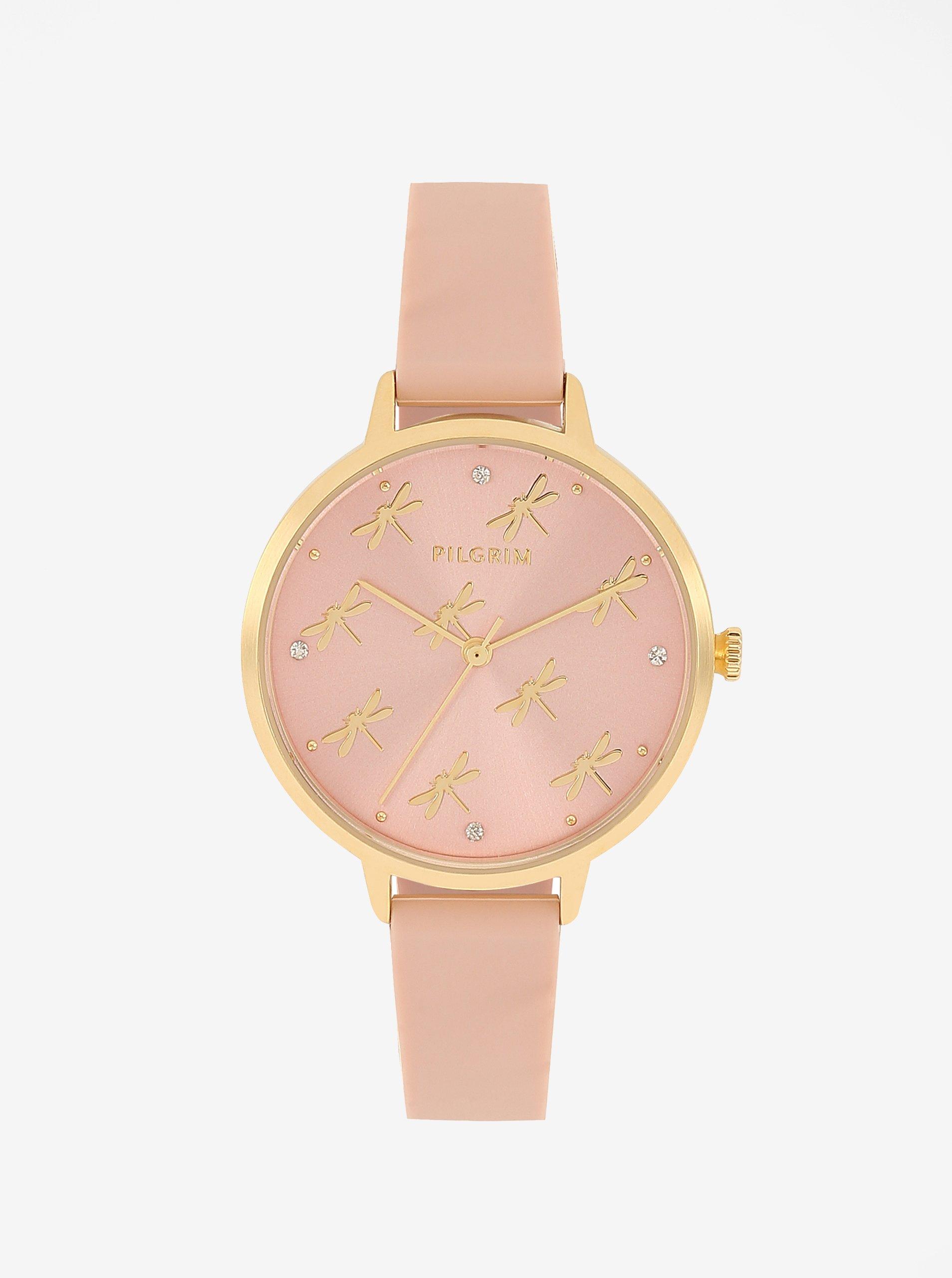 Pozlátené hodinky v zlatej farbe s telovým silikónovým remienkom Pilgrim Babette