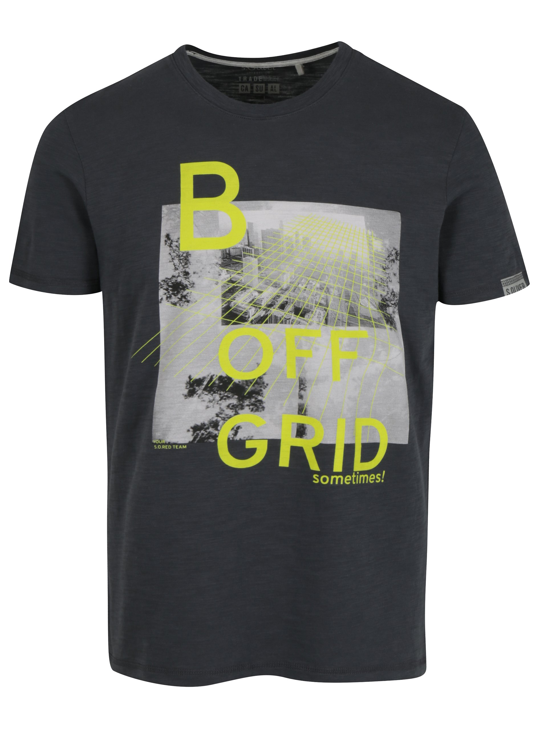 Tmavě šedé pánské slim fit tričko s potiskem s.Oliver