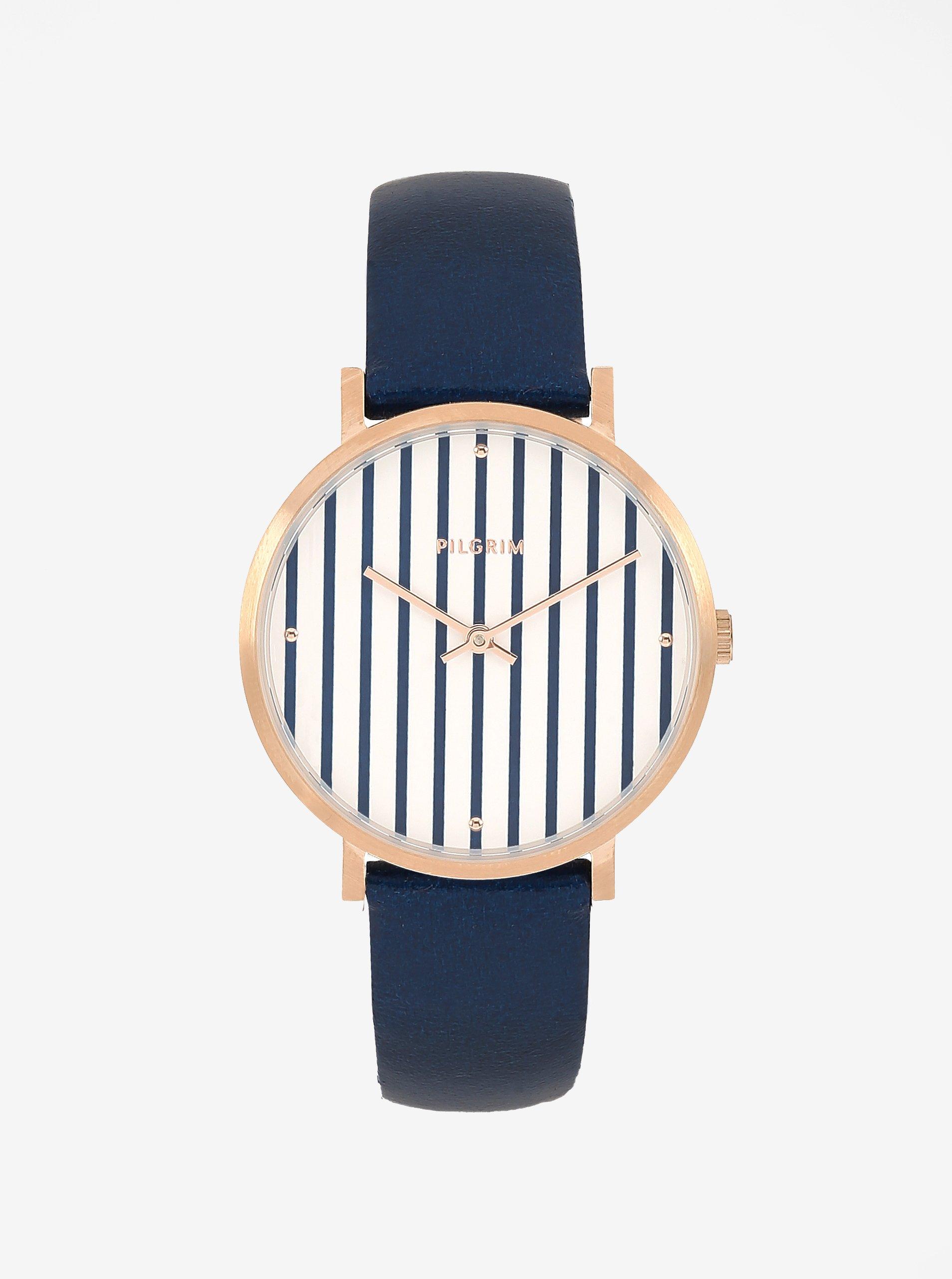 Pozlátené hodinky v zlatej farbe s tmavomodrým koženým remienkom Pilgrim Billie