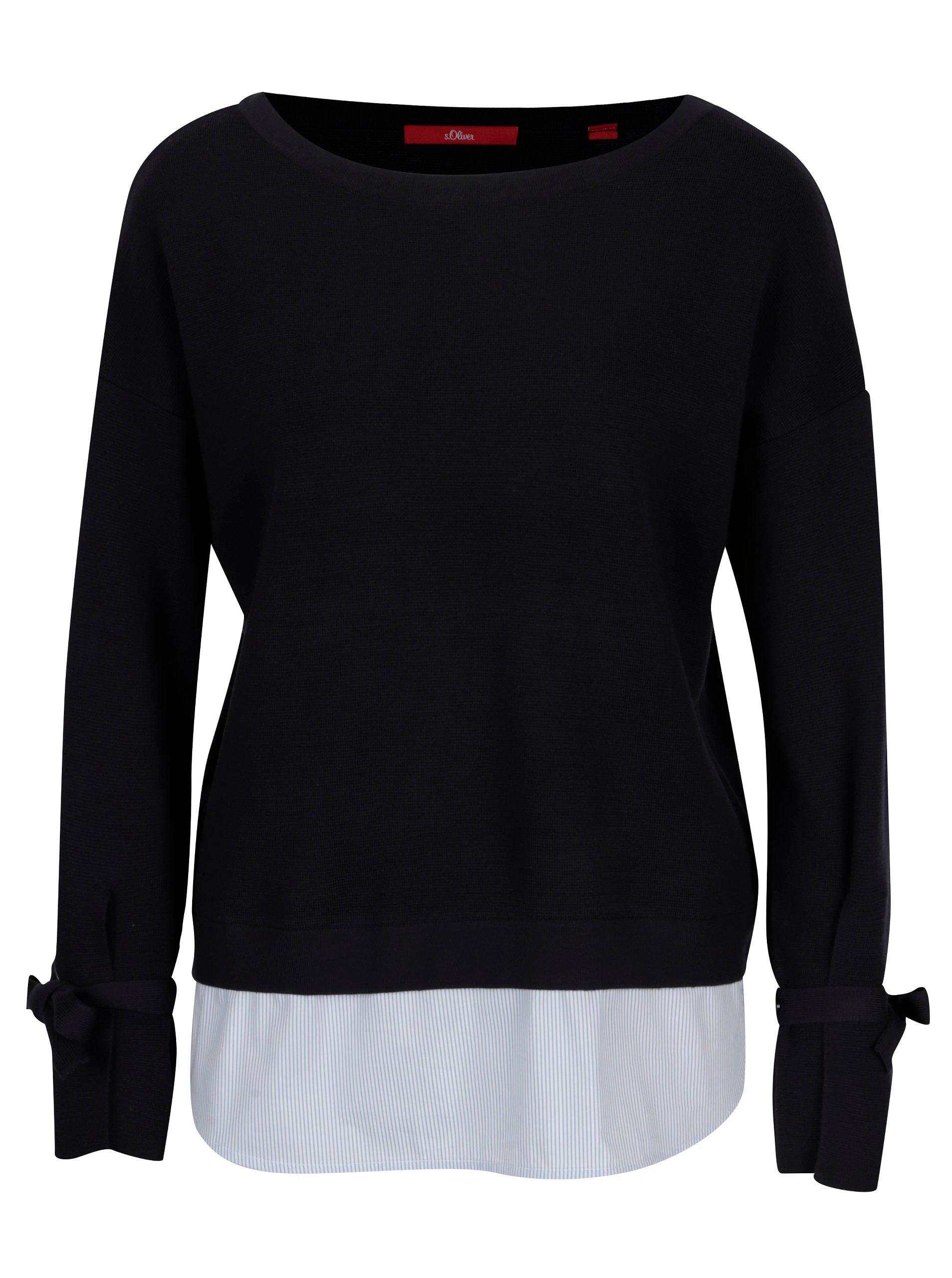 Tmavě modrý dámský svetr s všitým košilovým lemem s.Oliver 8b09639676