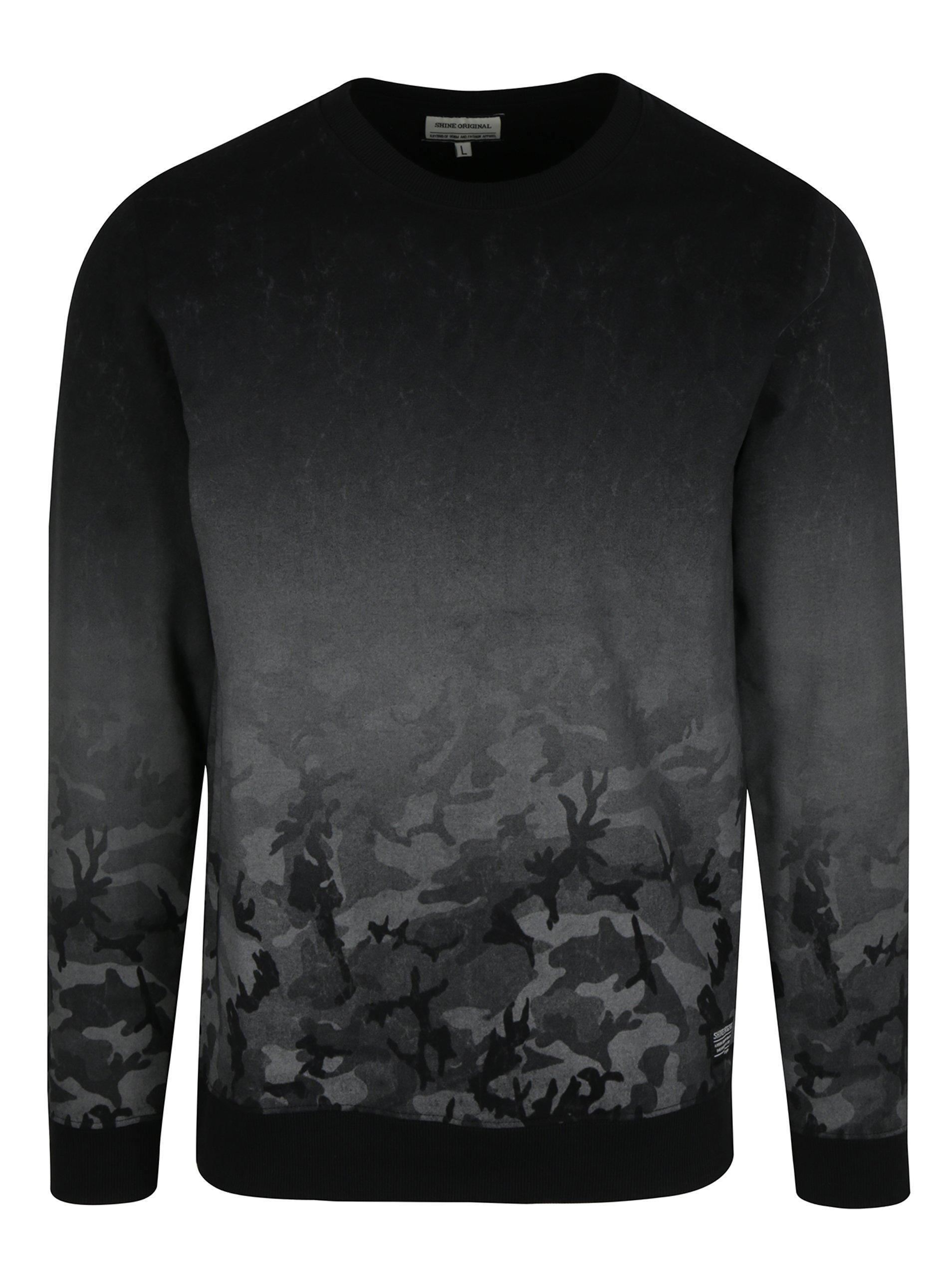 accde3e7b31d Sivo-čierna mikina s maskáčovým vzorom Shine Original