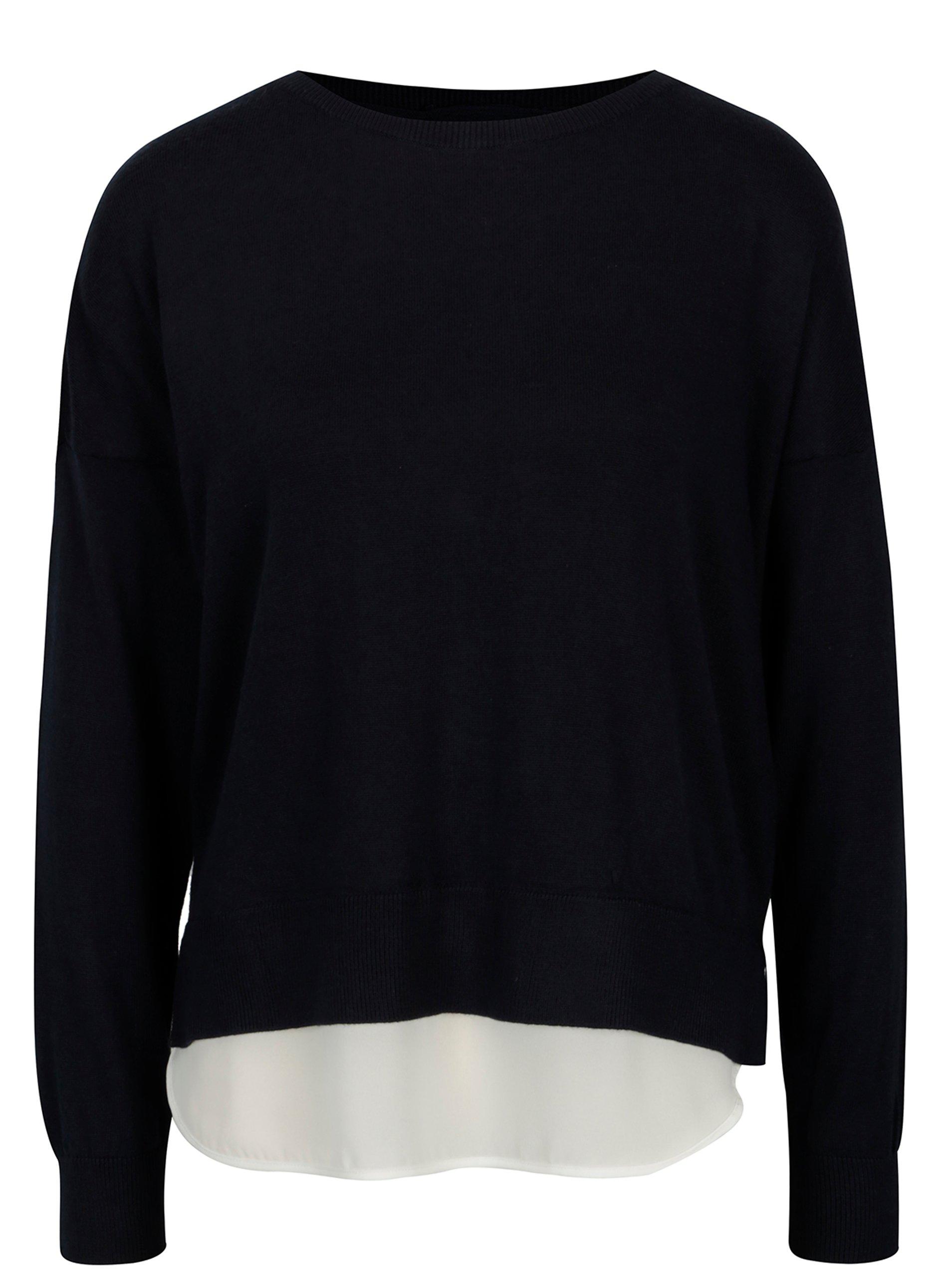 Tmavě modrý lehký svetr s mašlí a průsvitnými zády ONLY Rosana