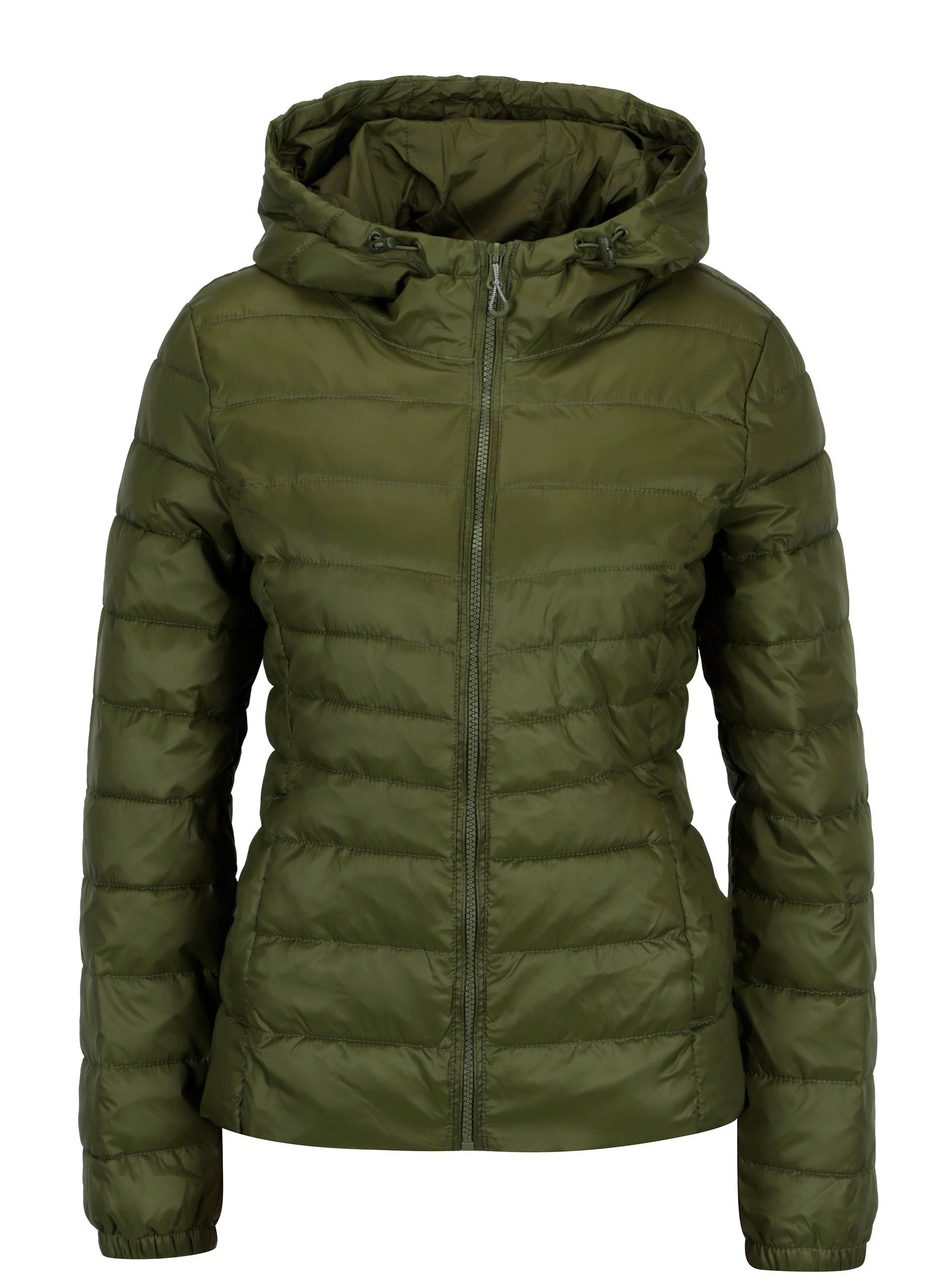 Zelená prošívaná bunda s kapucí ONLY Tahoe