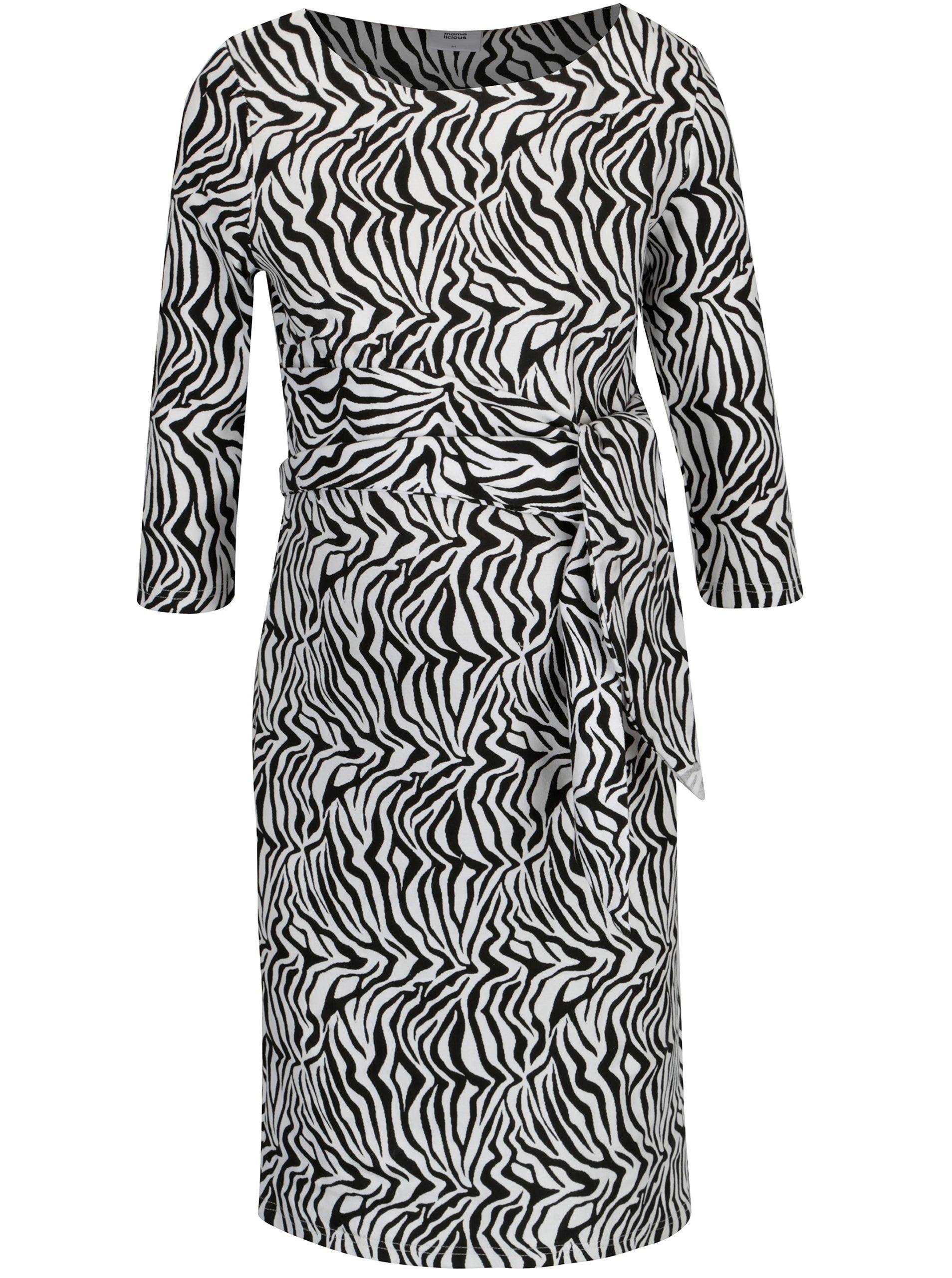 8f5f8957349 Černo-bílé těhotenské vzorované šaty Mama.licious Zebra