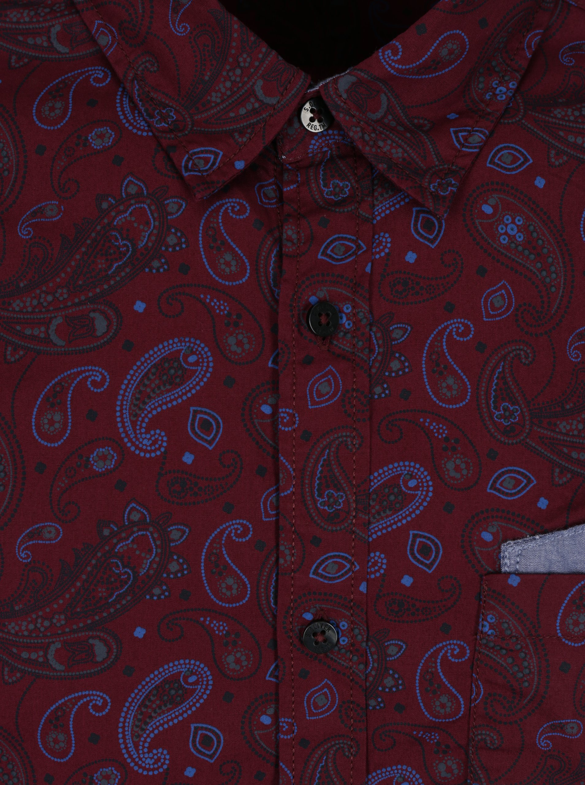 bd7e9c47e18 Vínová pánská vzorovaná slim fit košile s.Oliver