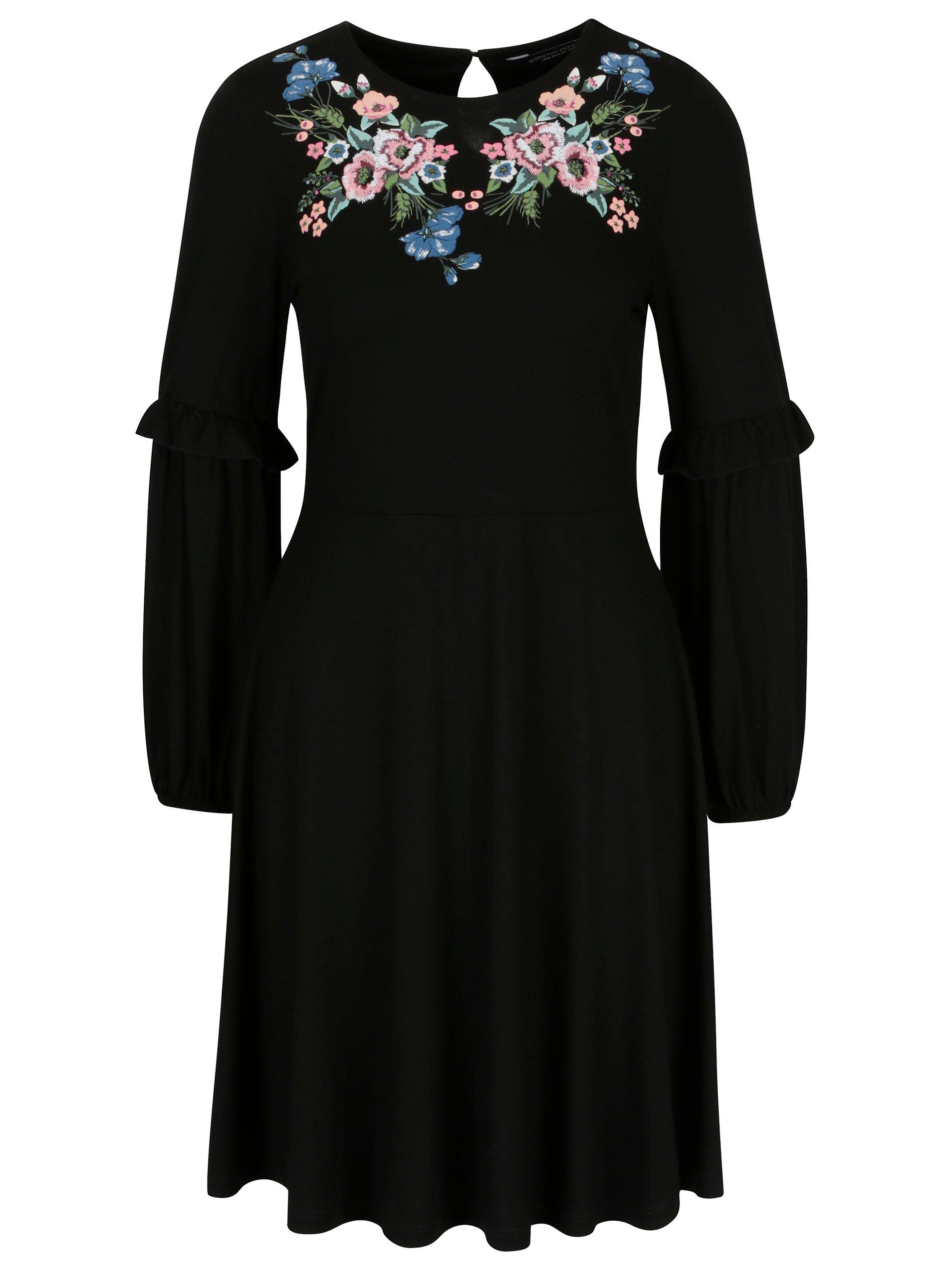 Černé šaty s výšivkou a potiskem Dorothy Perkins