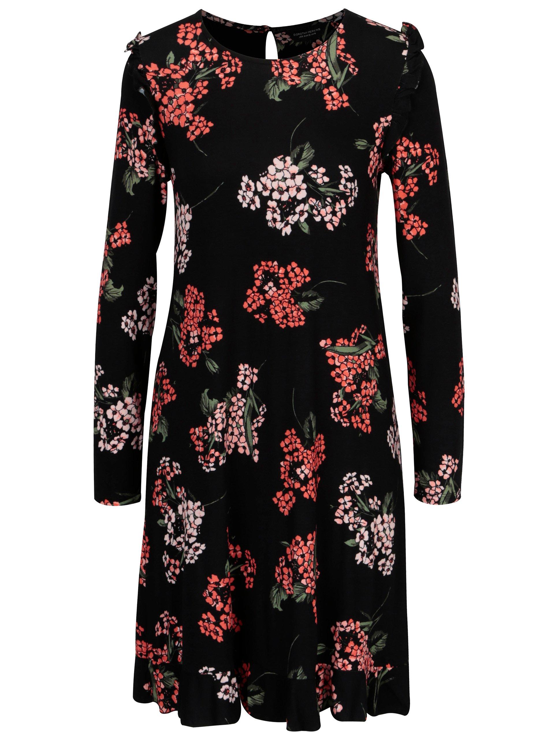 Černé květované šaty s volánky Dorothy Perkins 3cf3ecff2ef
