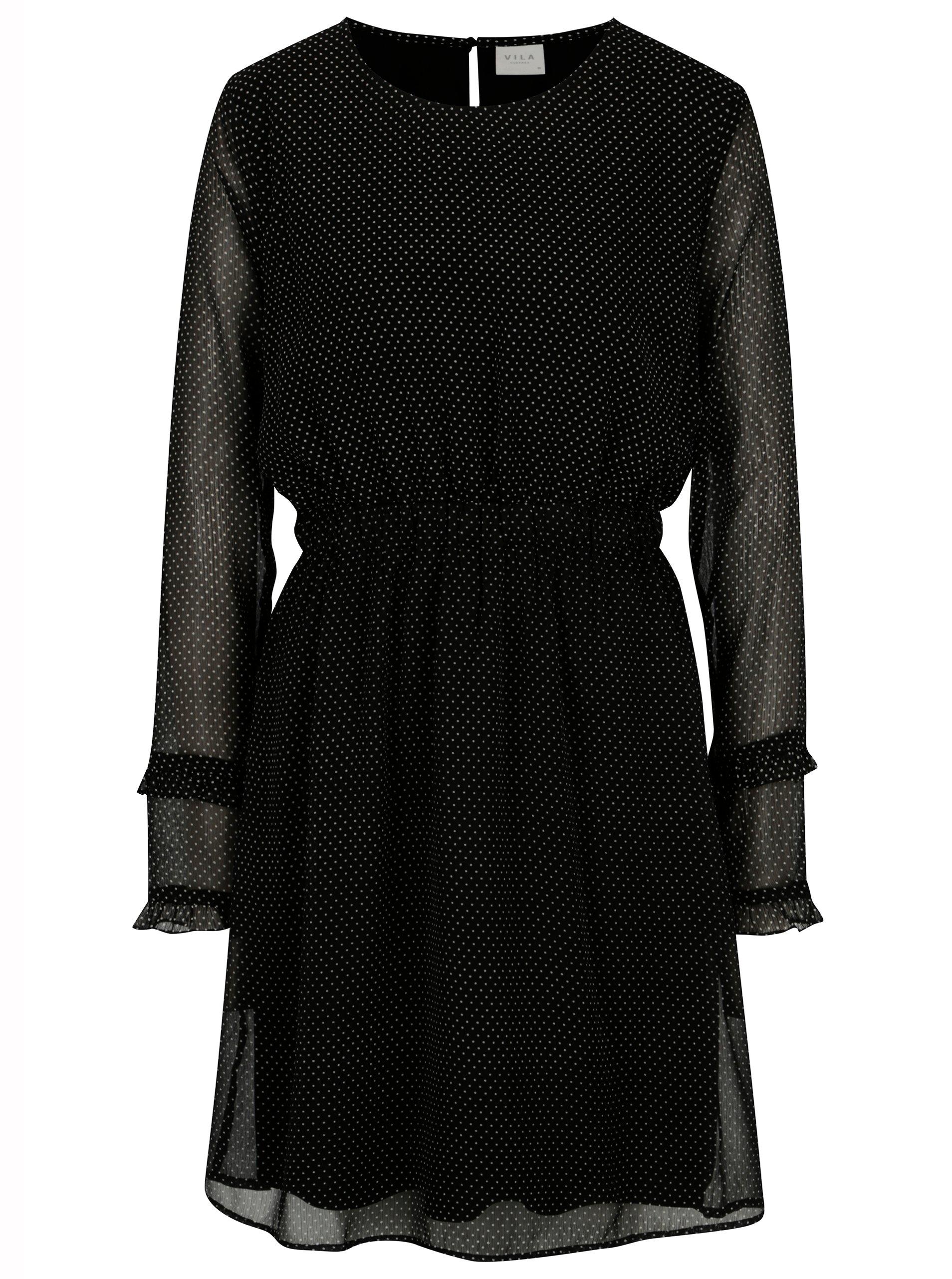 Černé puntíkované šaty s dlouhým rukávem VILA Dotly