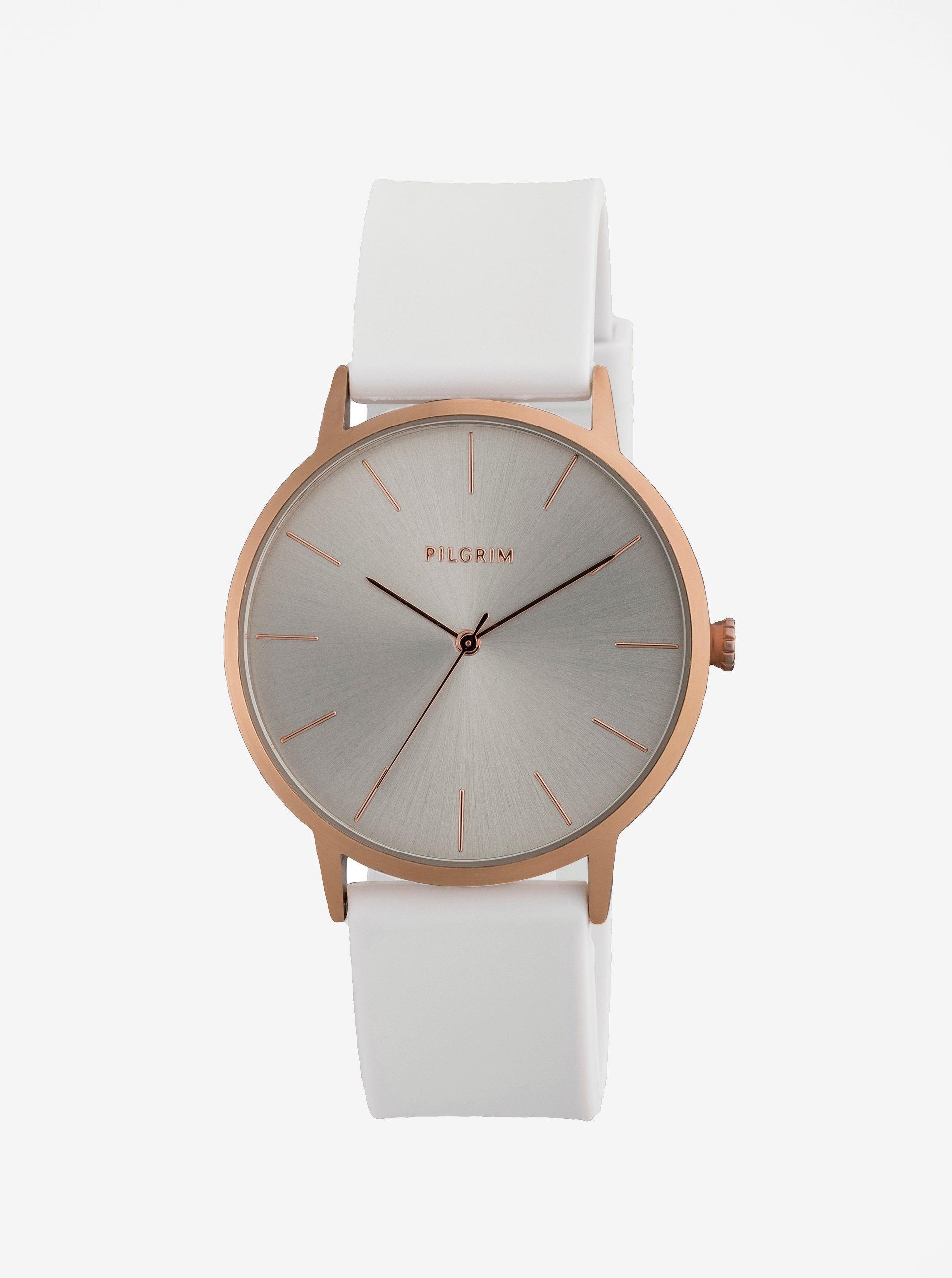 Pozlacené hodinky v růžovozlaté barvě se světle šedým silikonovým páskem Pilgrim