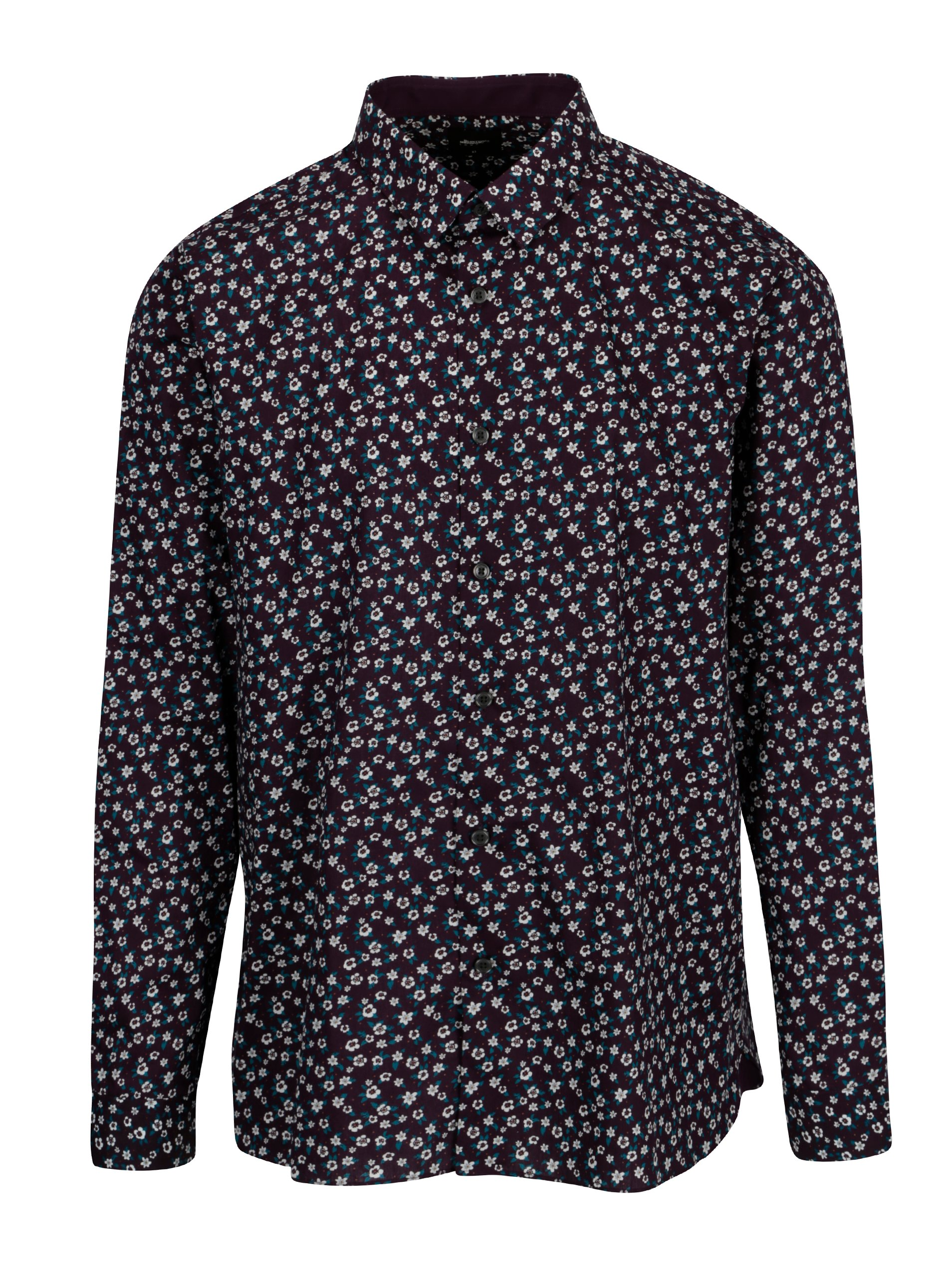 Fialová květovaná košile Burton Menswear London