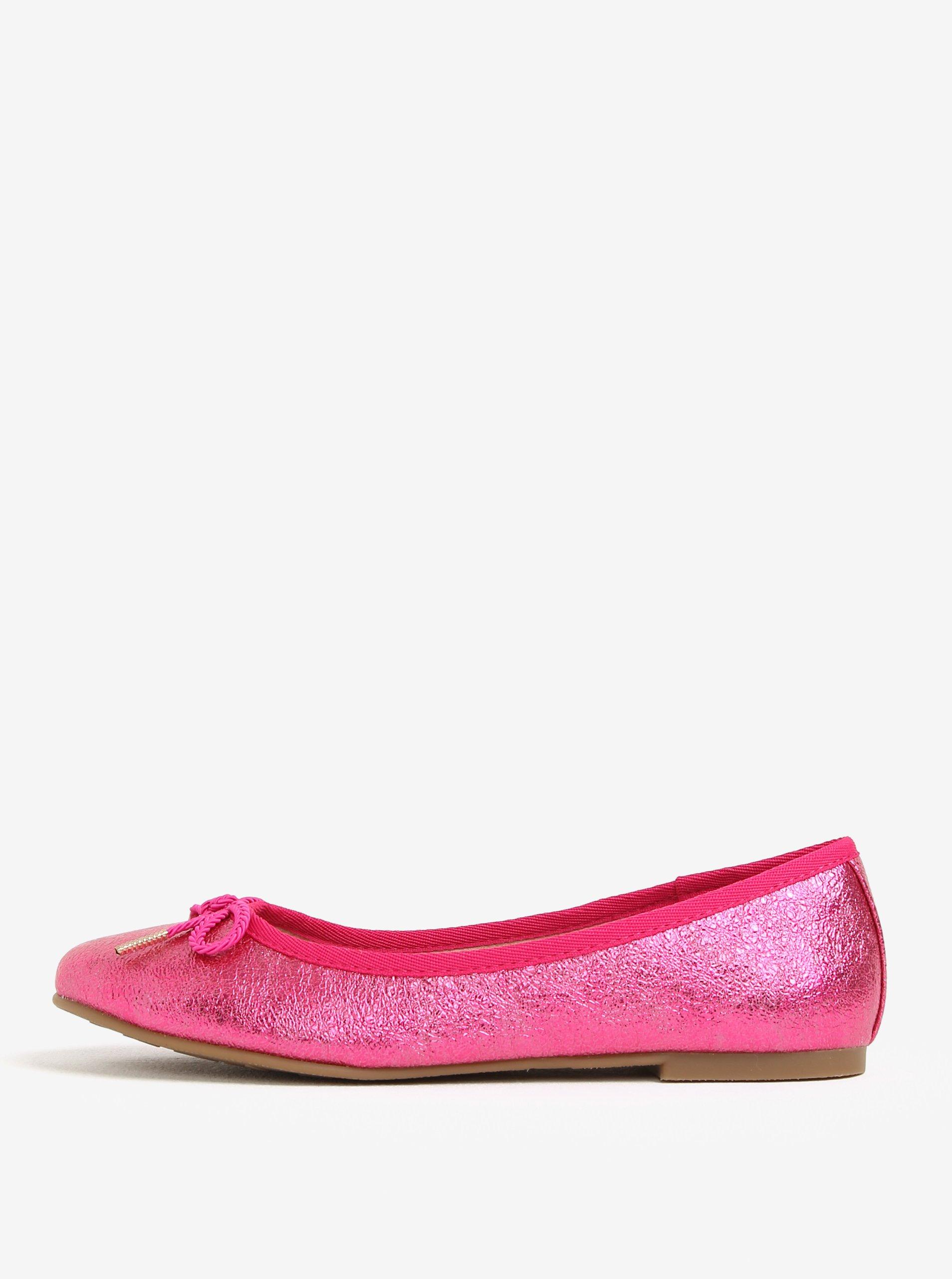 Růžové lesklé baleríny s mašlí Tamaris