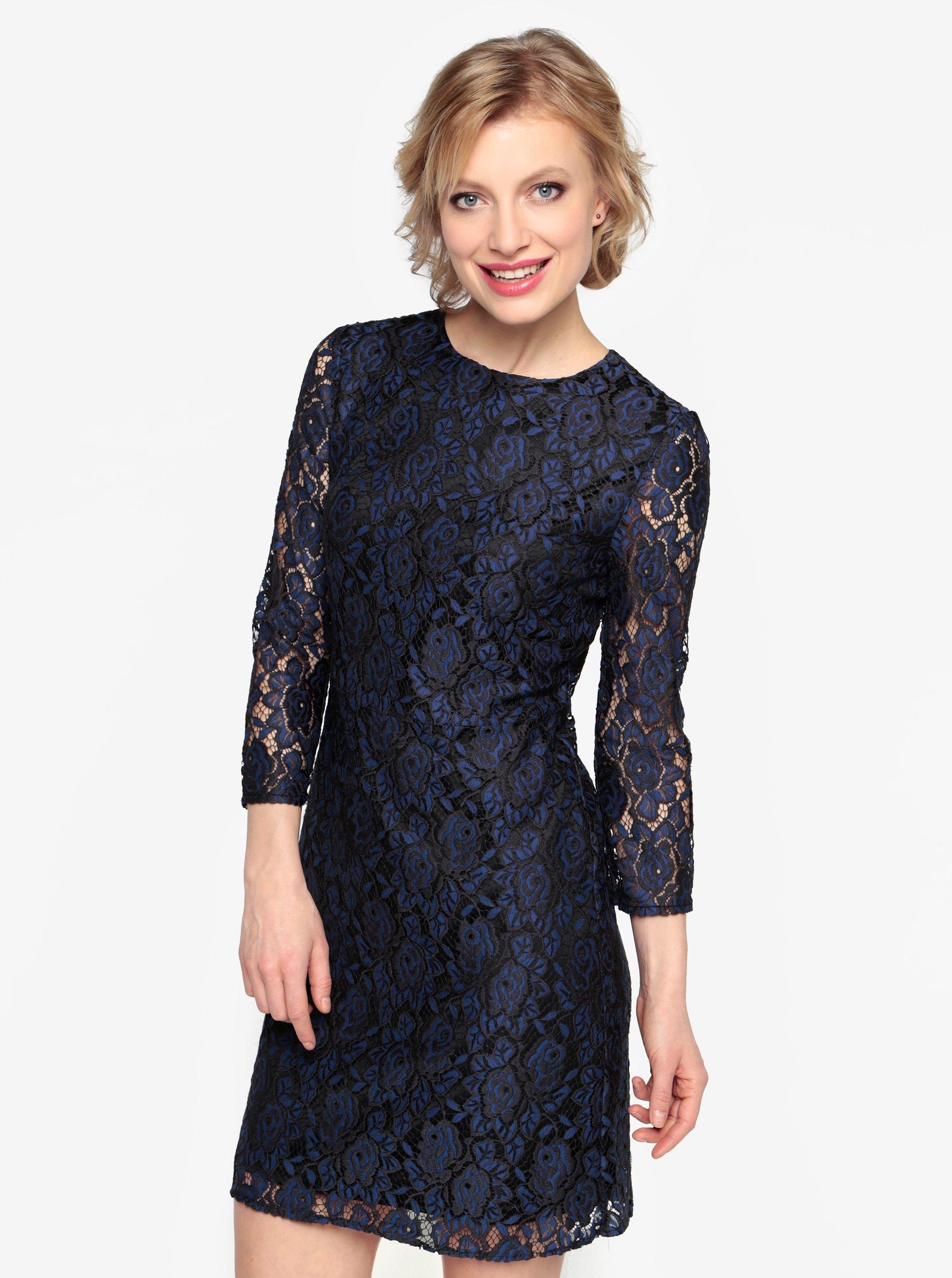 42d752e45605 Tmavomodré čipkované šaty Oasis Two tone