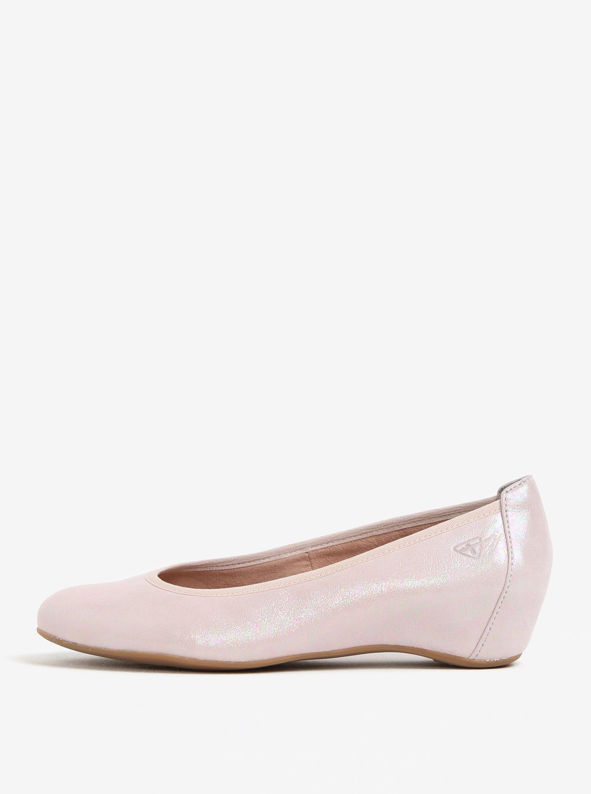 Světle růžové kožené baleríny na klínku Tamaris