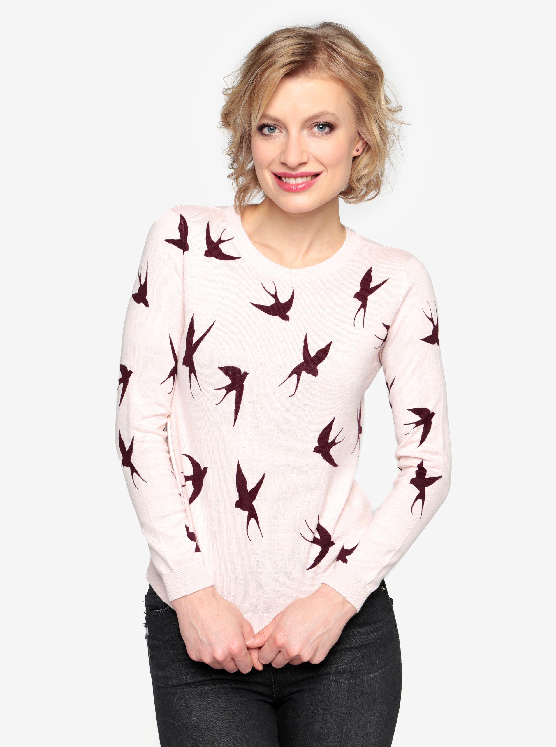 Světle růžový vzorovaný lehký svetr s mašlí za krkem Oasis Shadow