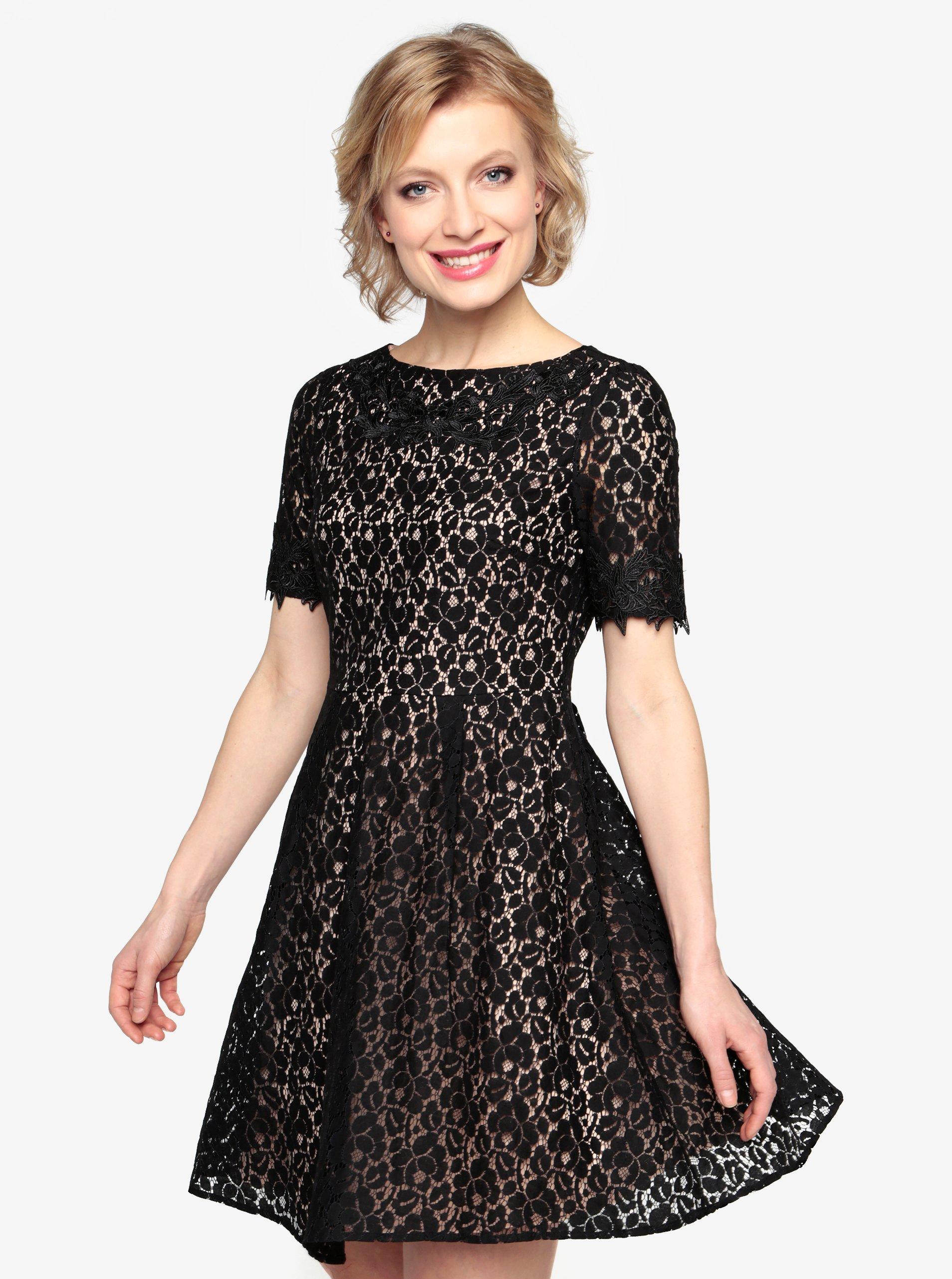 5ba9196e3733 Čierne čipkované šaty s krátkym rukávom Oasis Trim