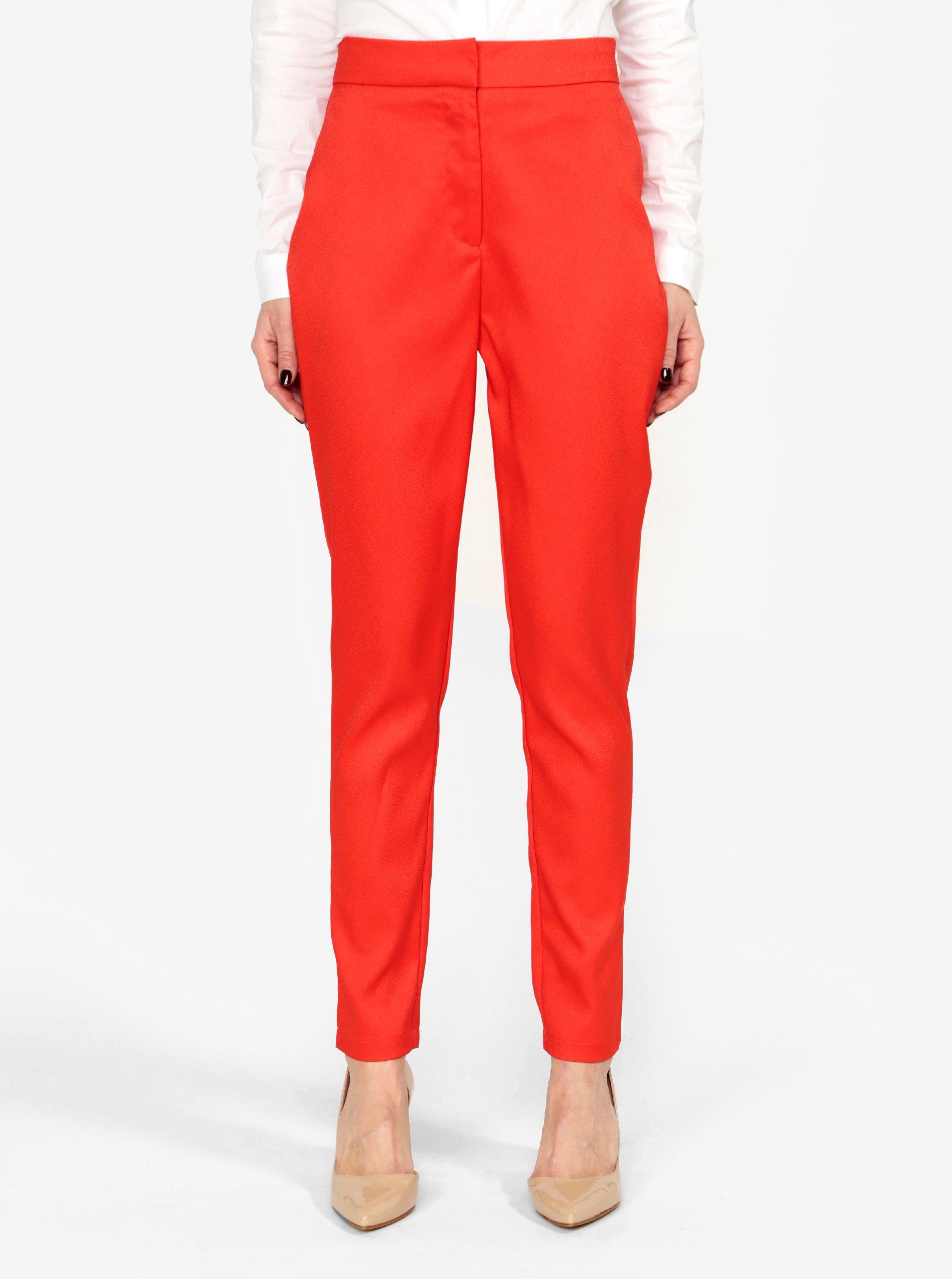červené kalhoty s vysokým pasem MISSGUIDED