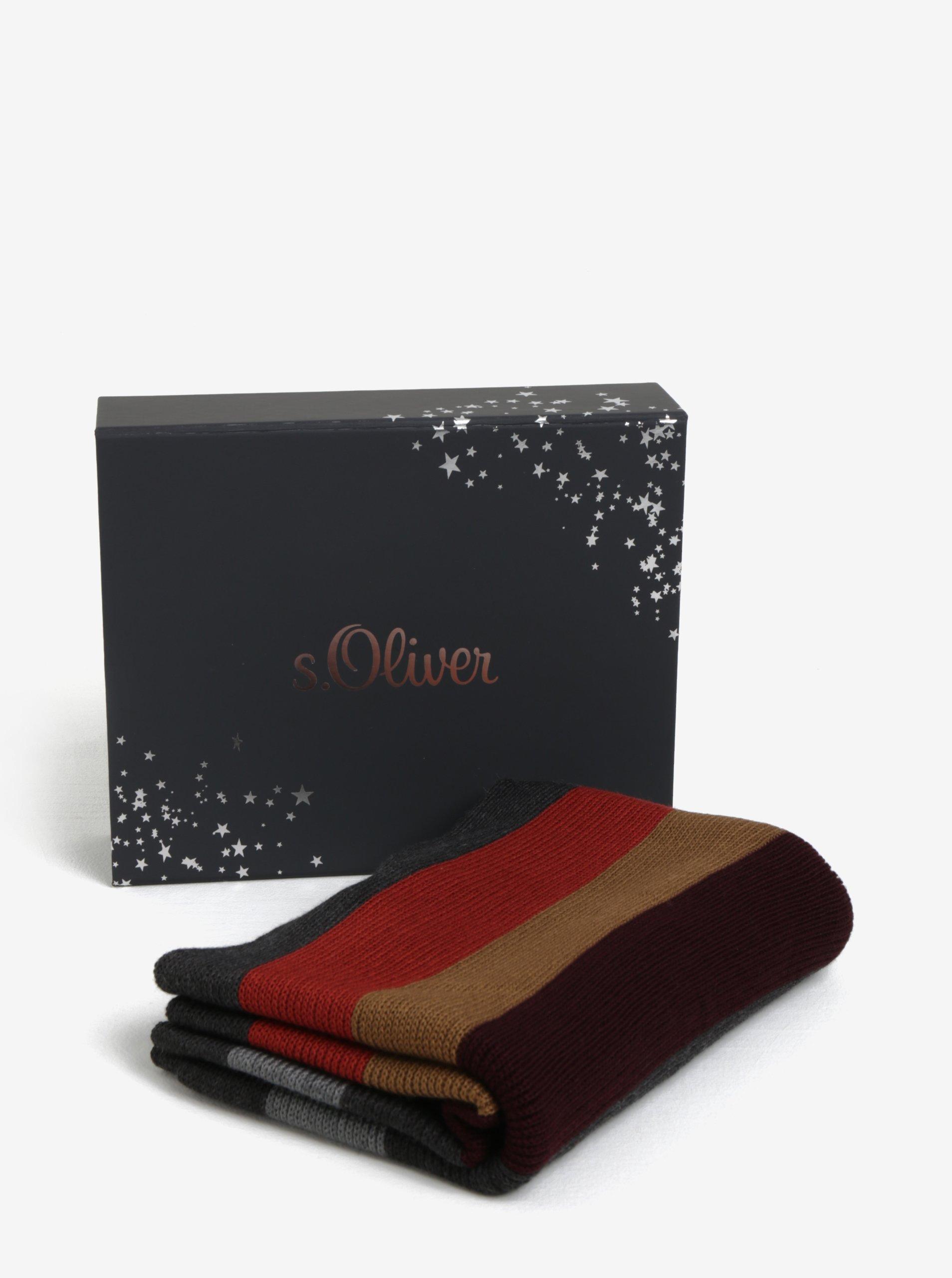 Vínovo-šedá pánská pruhovaná šála s třásněmi s.Oliver