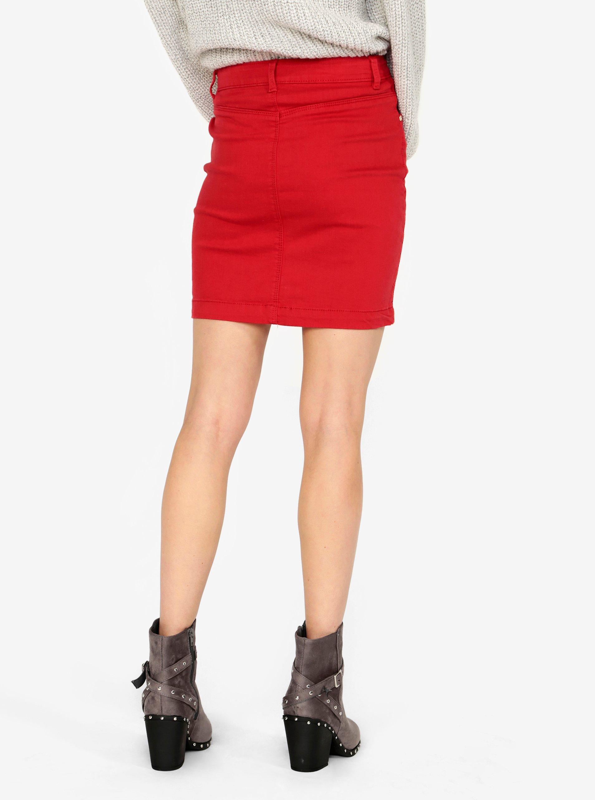 Červená džínová sukně MISSGUIDED - eleganter.cz 880bd9ee15