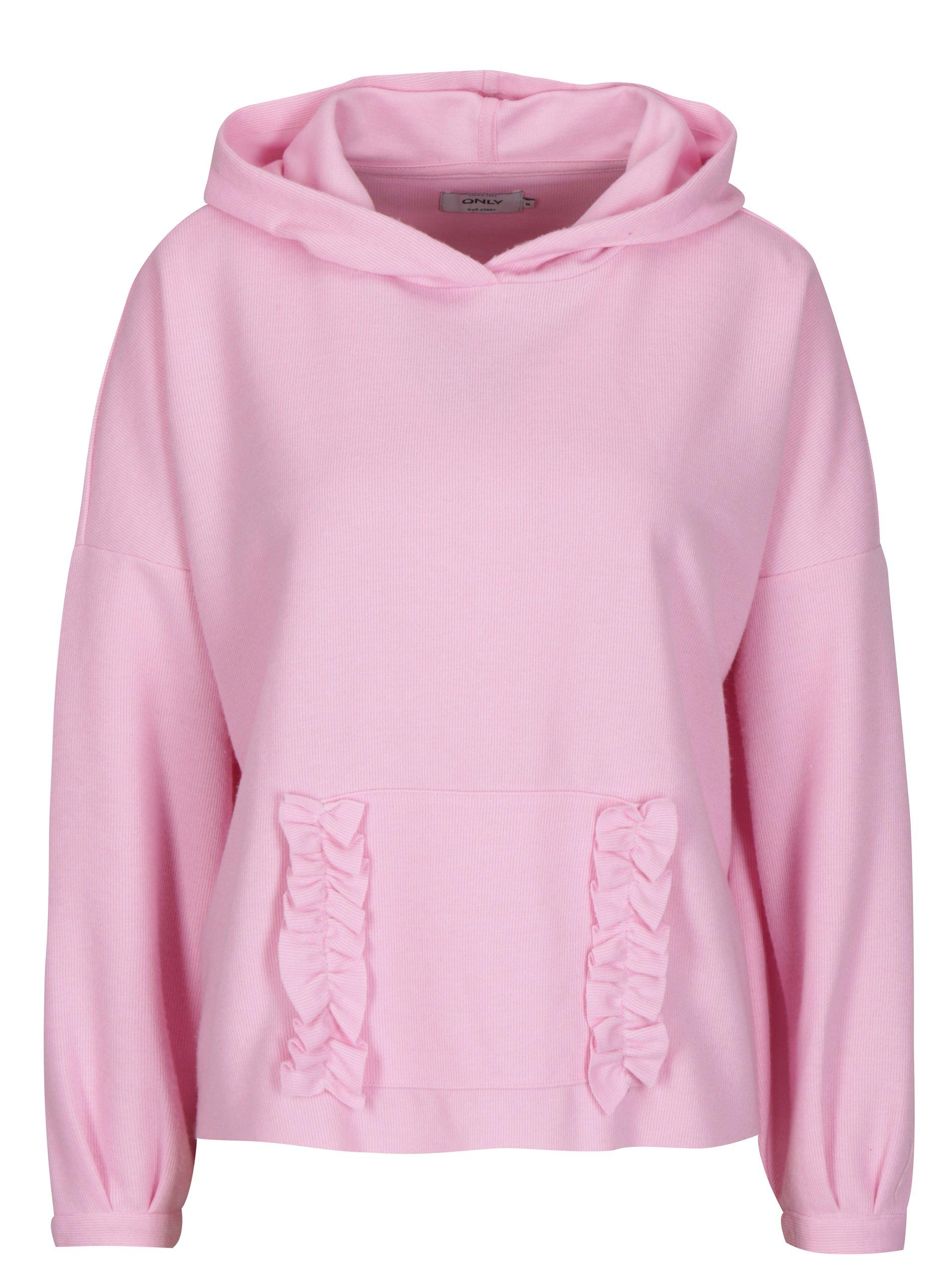 Růžový svetr s kapucí ONLY Gia 980b604489