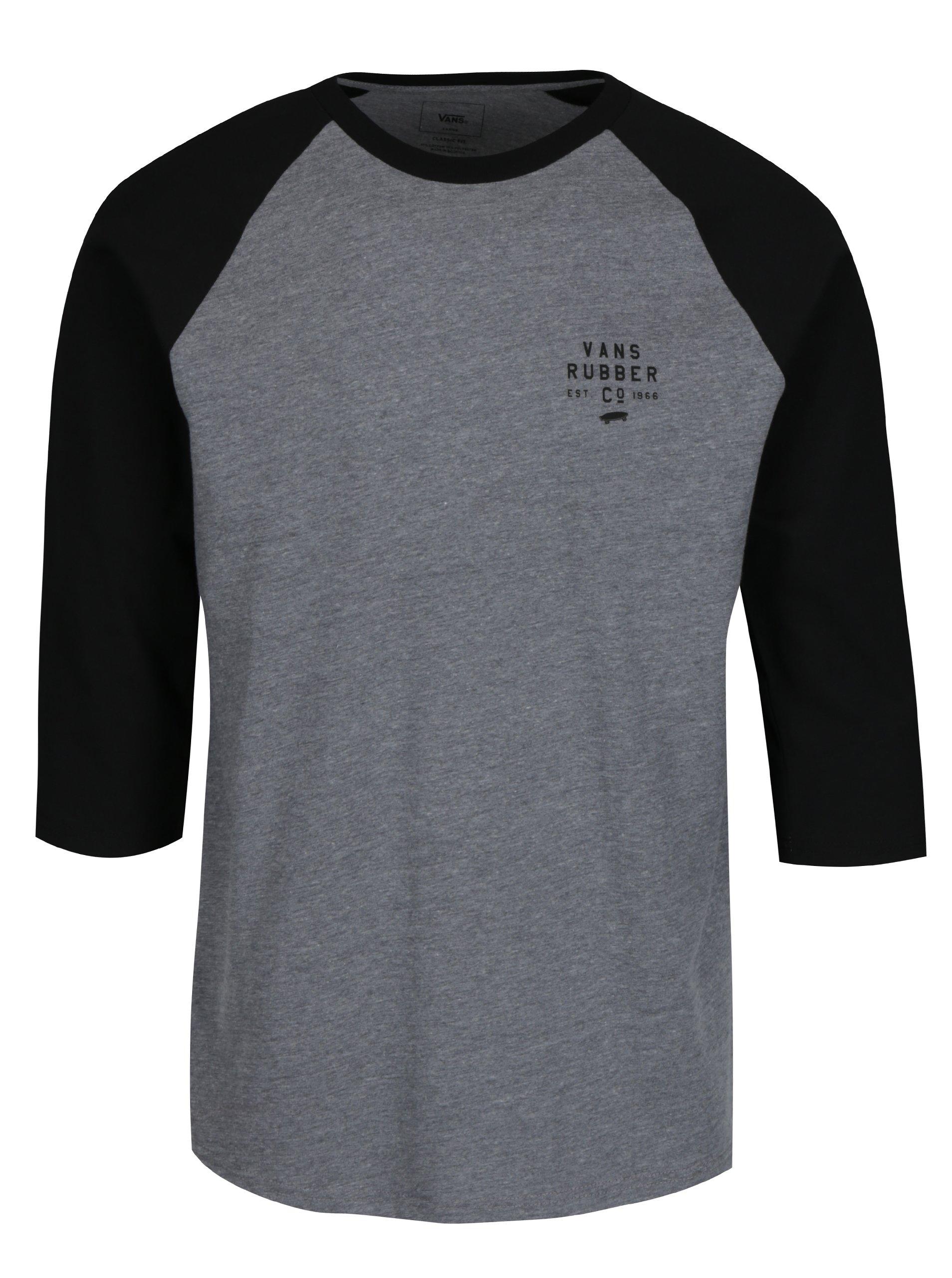 Čierno-sivé pánske melírované tričko s potlačou VANS Stacked Rubber 7a083bd908