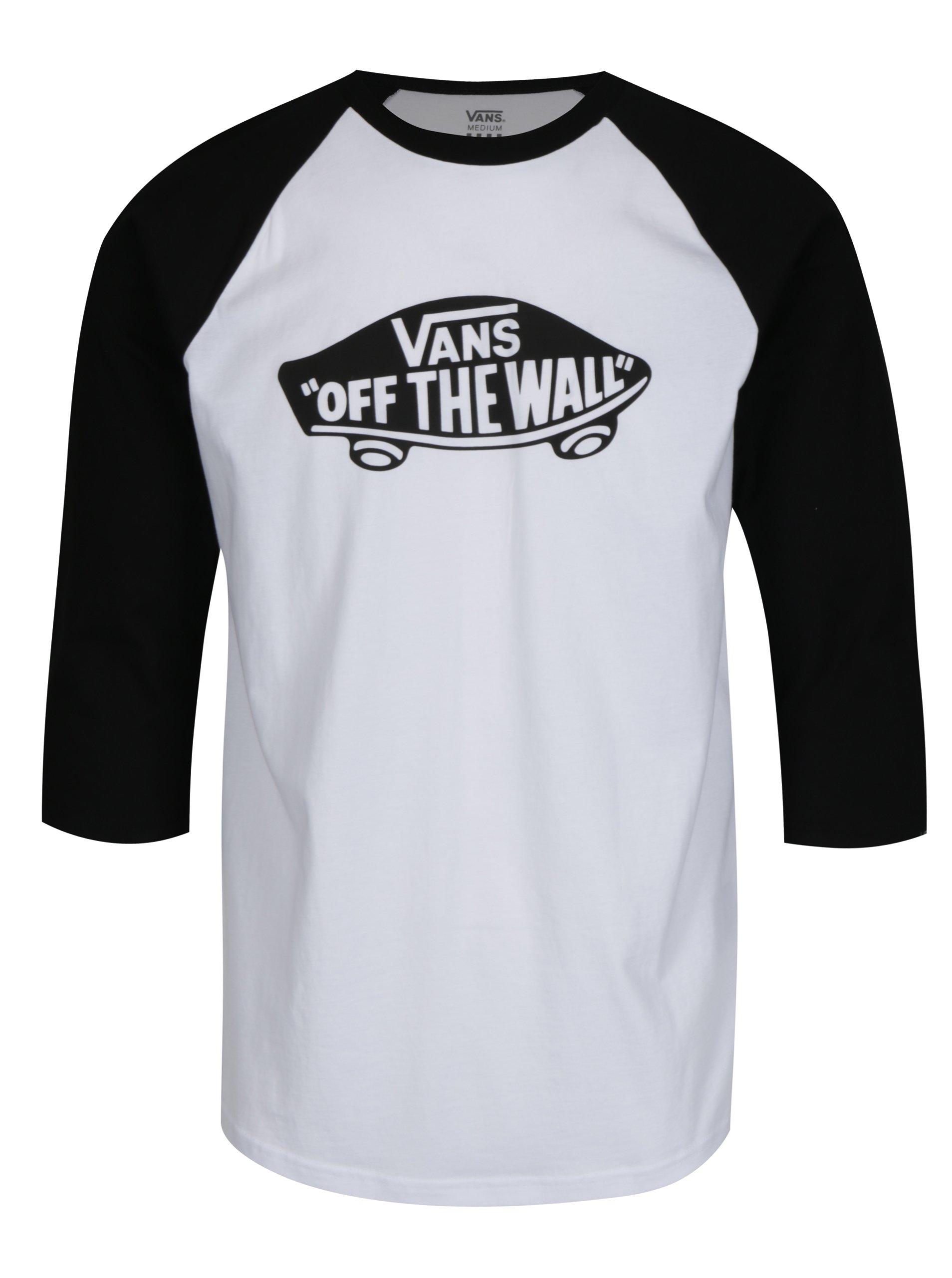 Černo-bílé pánské tričko s potiskem VANS New Raglan 6cc3d9630e