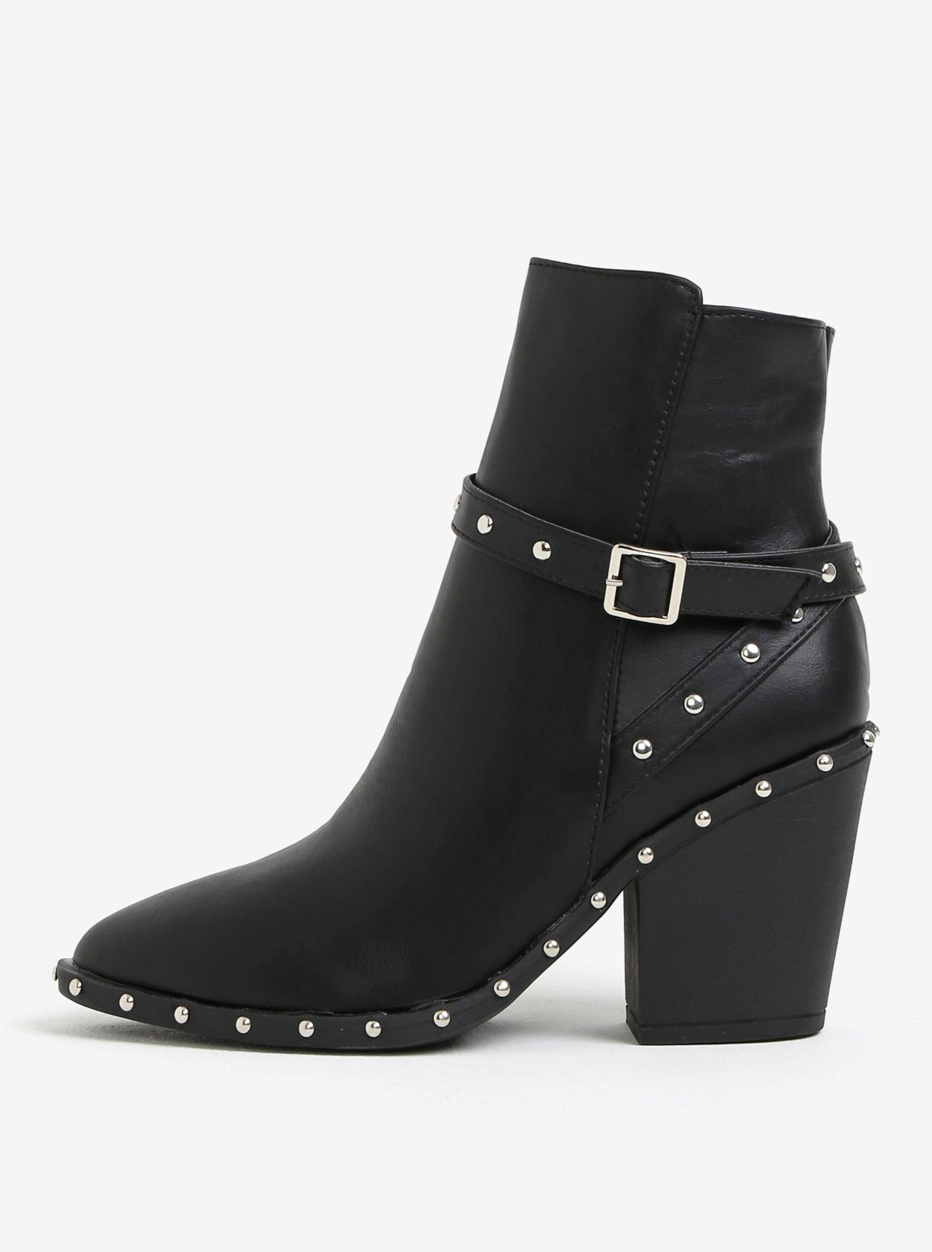 dd45c1a4df Čierne členkové topánky s aplikáciou MISSGUIDED