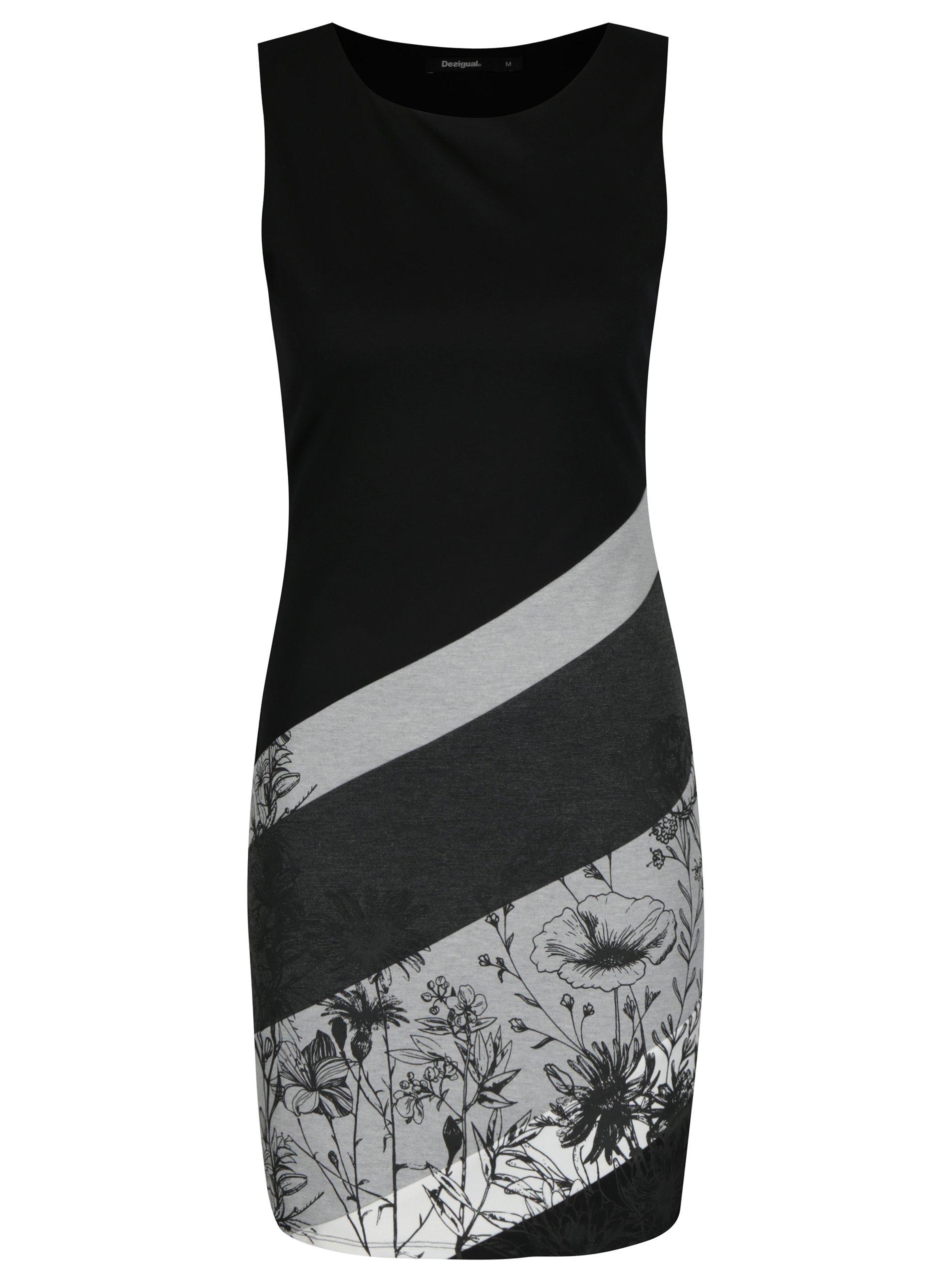 57f460b997c2 Šedo-černé pruhované šaty s potiskem Desigual Goodbye