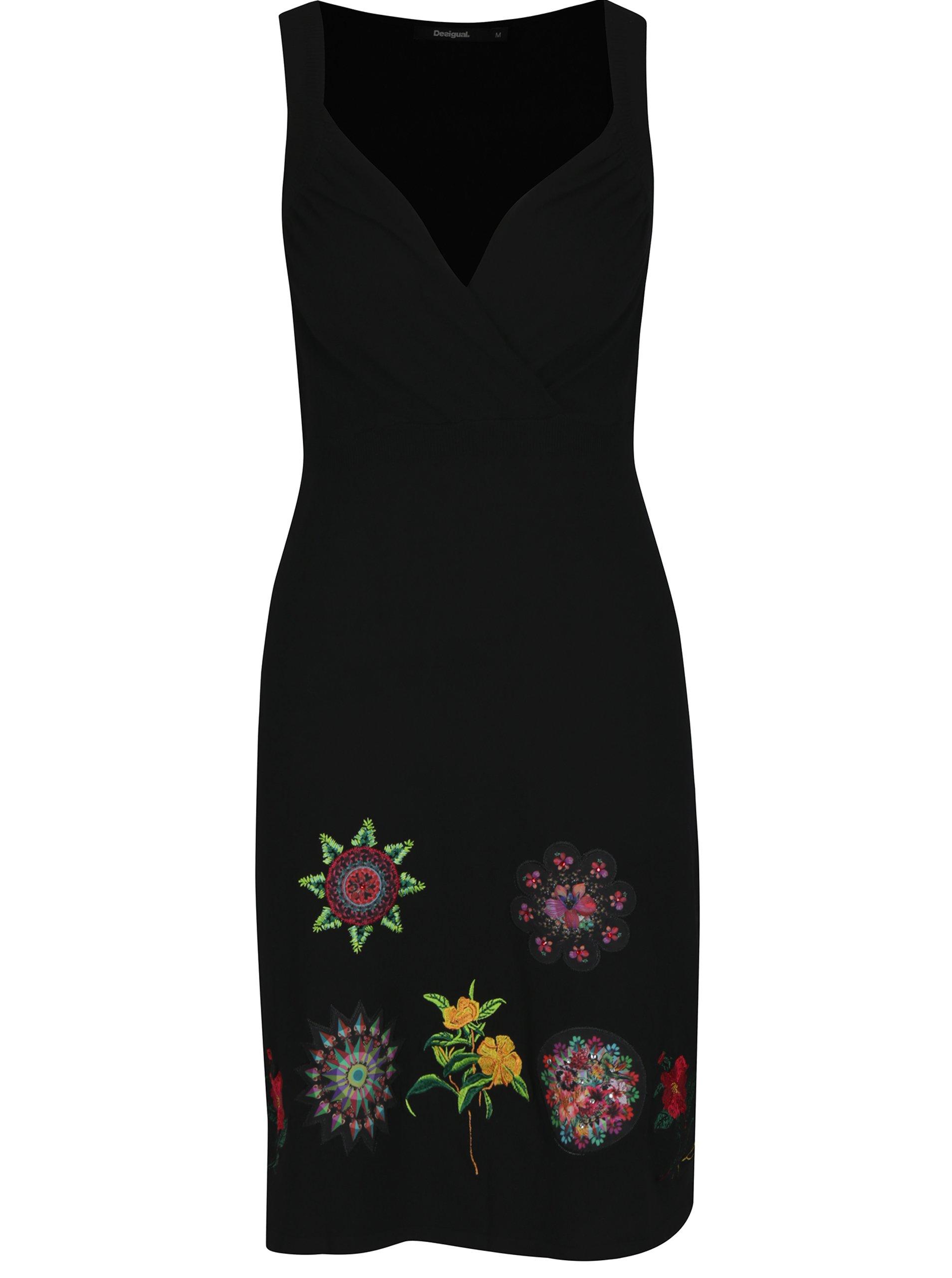 Černé šaty s kamínky a výšivkami Desigual Gotheborg