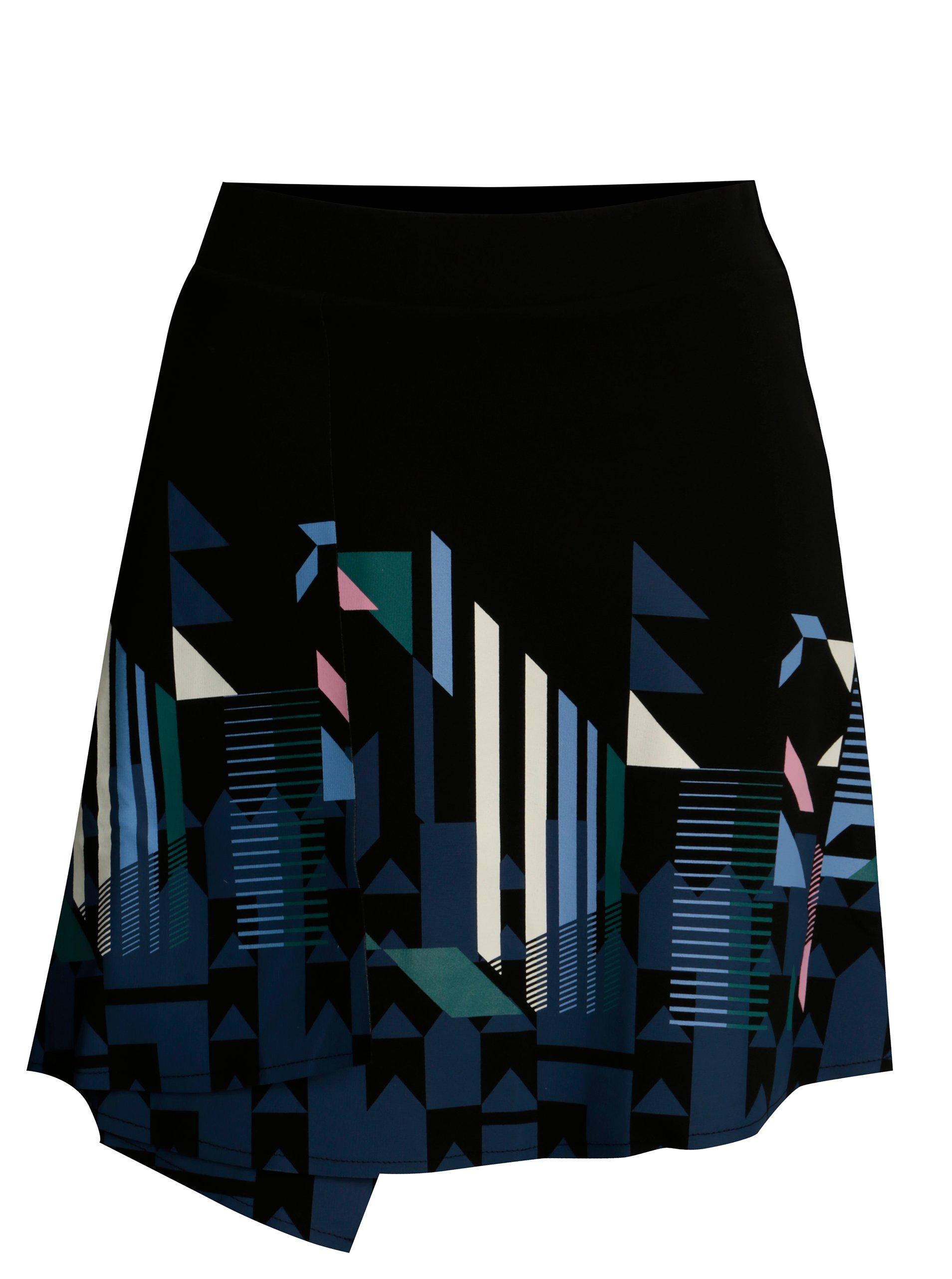 Černá překládaná sukně s potiskem Desigual Aunice