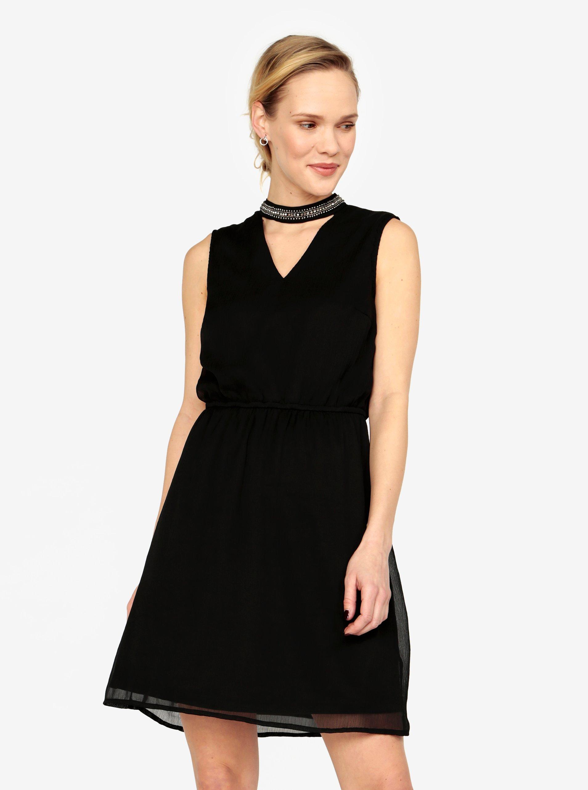 Černé šaty s korálkovou aplikací ONLY Dafne