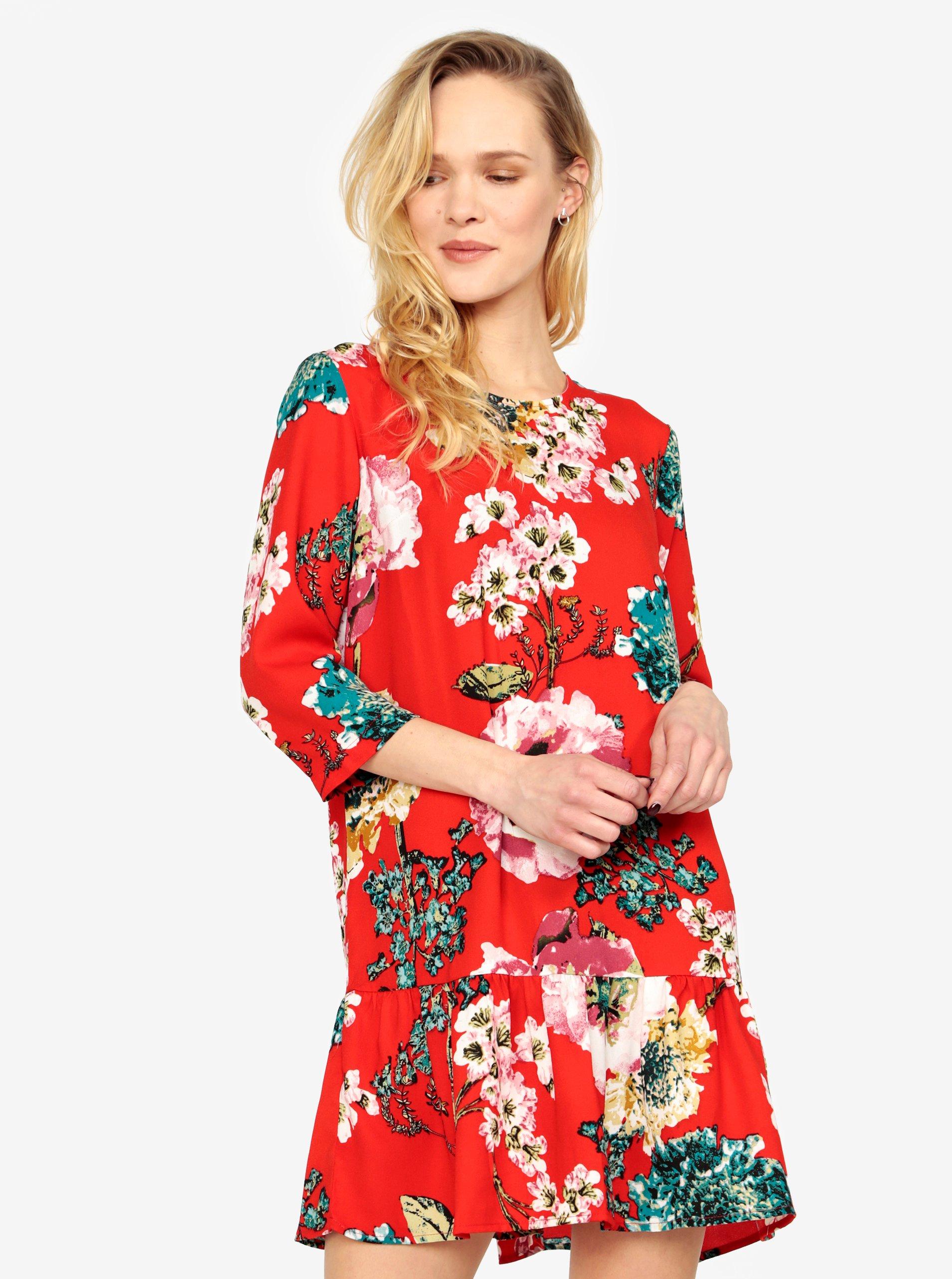 Červené květované šaty s volánem ONLY Katehrine