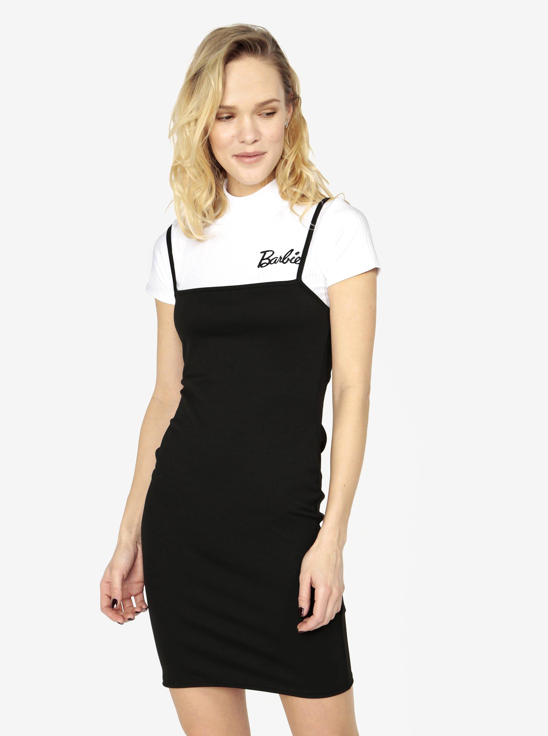 Čierne šaty s rebrovaným crop topom 2 v 1 MISSGUIDED Barbie