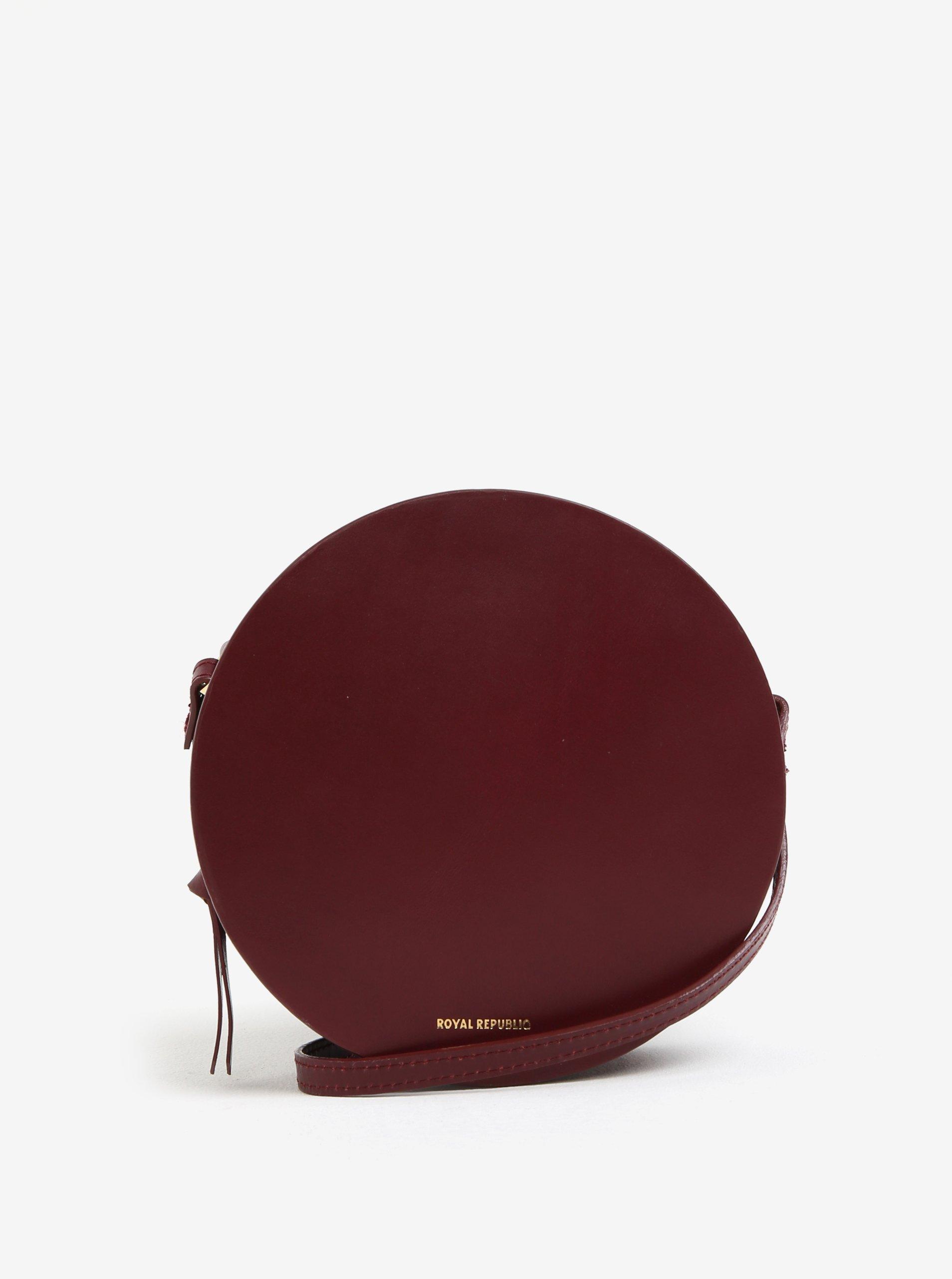 Vínová kožená okrúhla crossbody kabelka Royal RepubliQ Galax Round