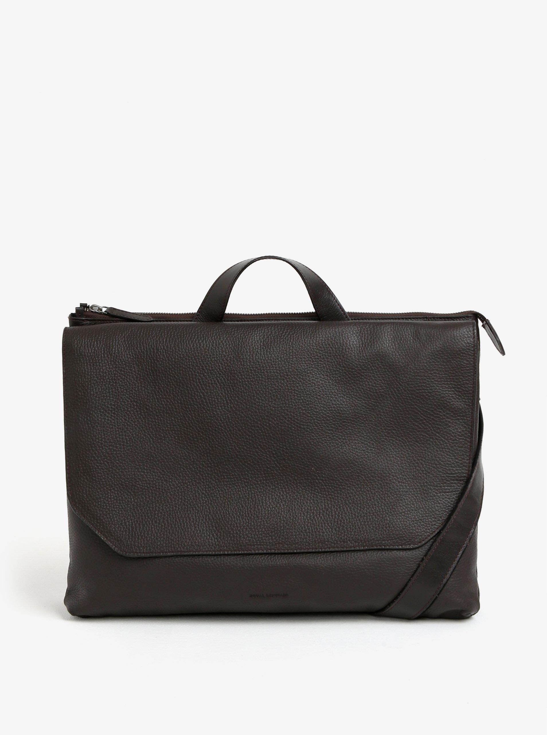 Tmavě hnědá pánská kožená taška na notebook Royal RepubliQ Omega