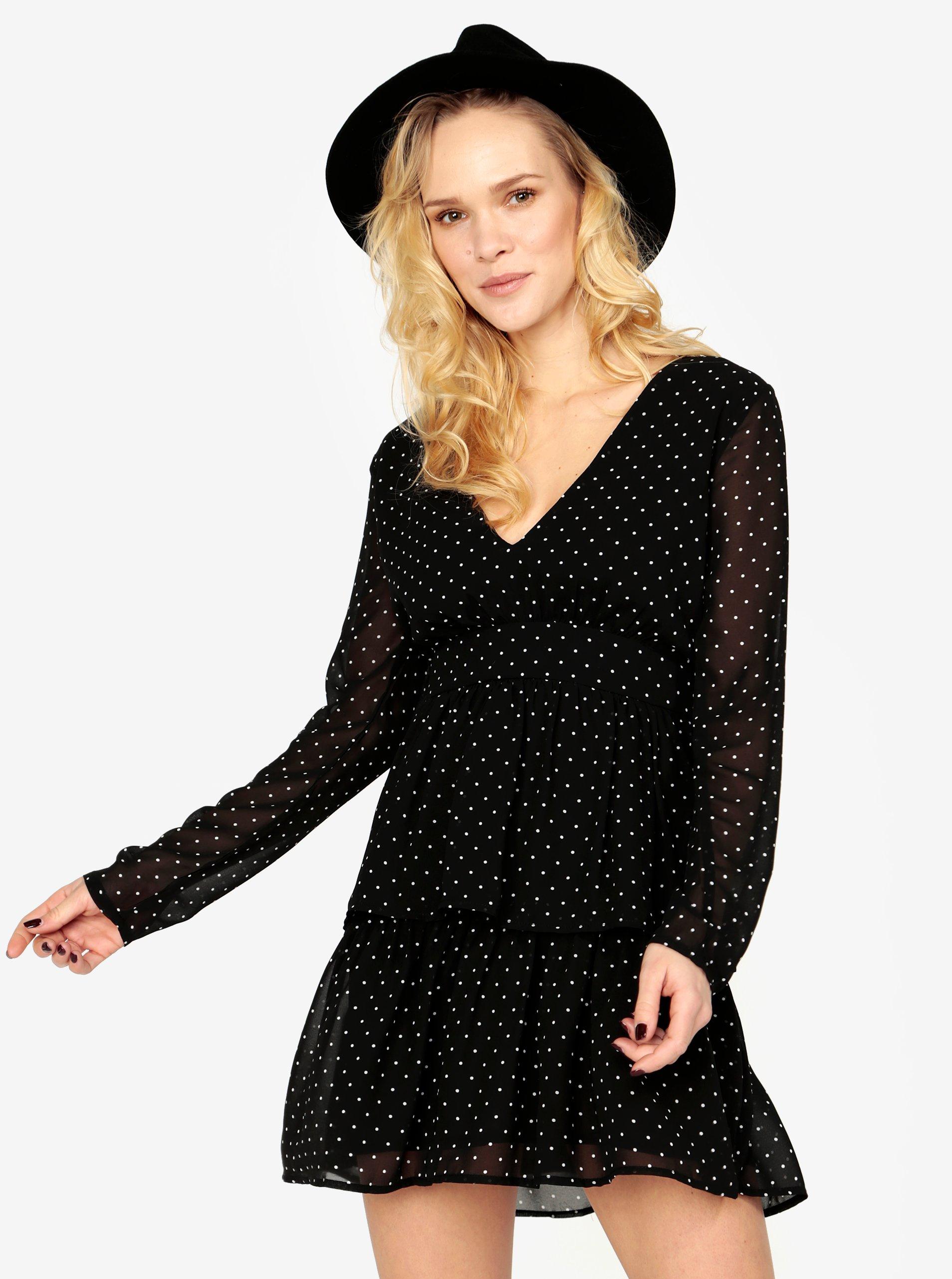 Černé puntíkované šaty s volány MISSGUIDED