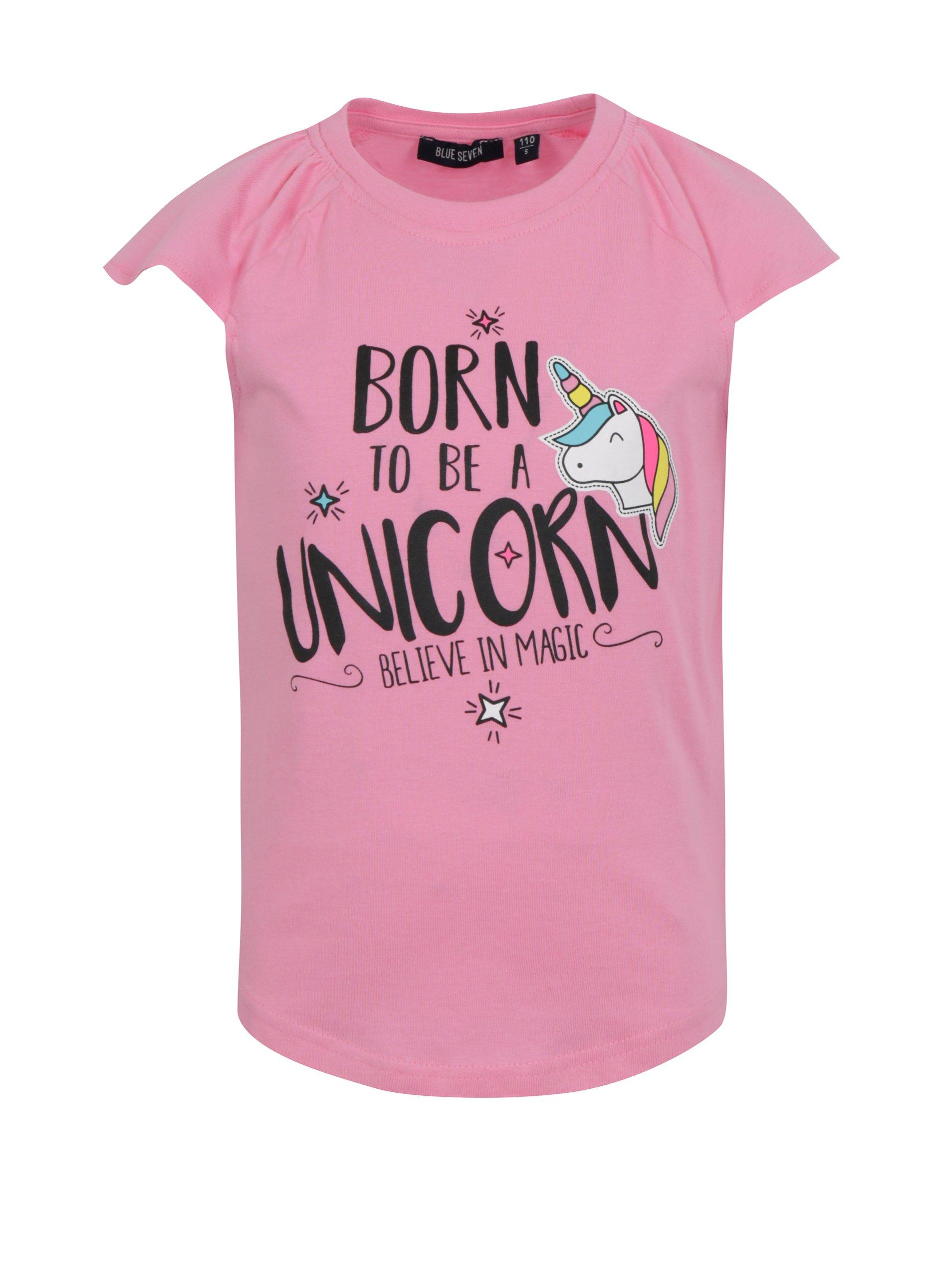 Ružové dievčenské tričko s potlačou jednorožca Blue Seven