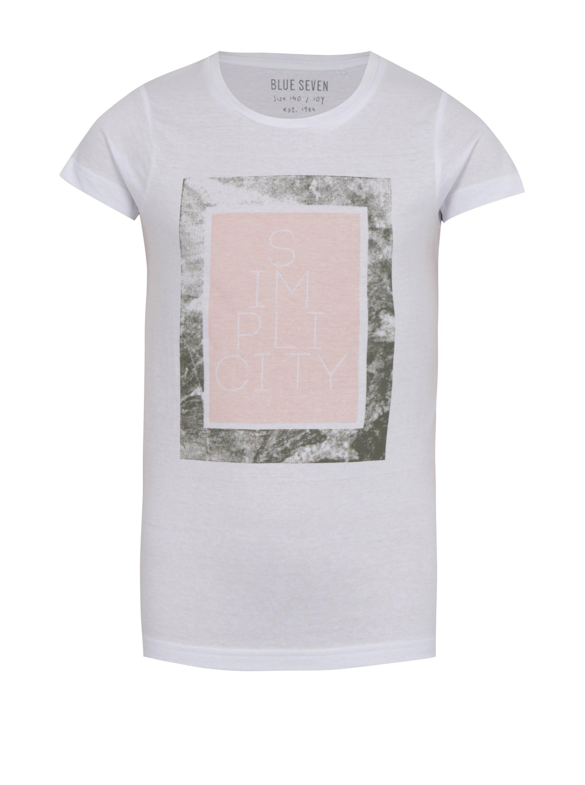 Biele dlhé dievčenské tričko s potlačou Blue Seven