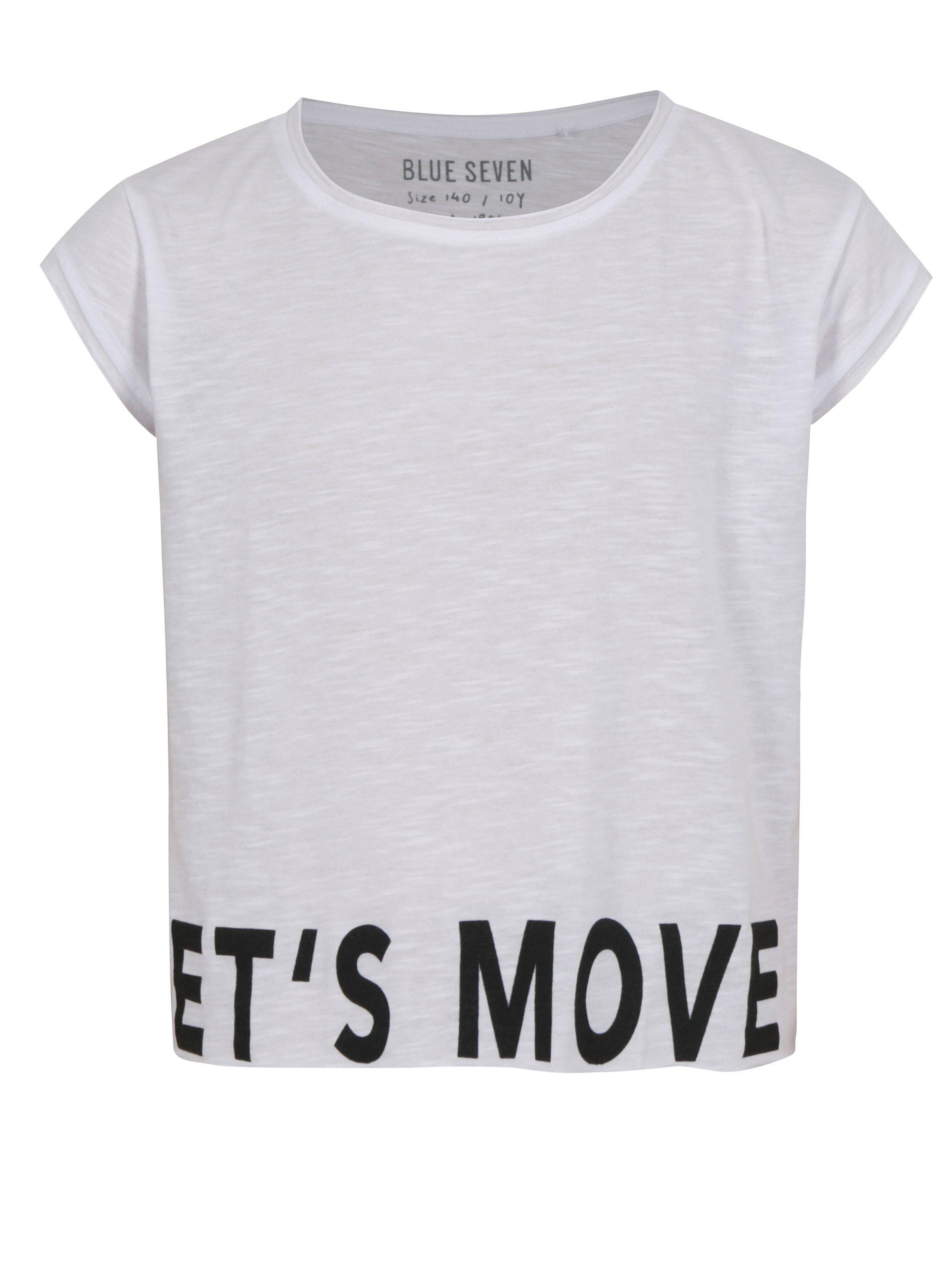 Biele dievčenské krátke tričko s nápisom Blue Seven