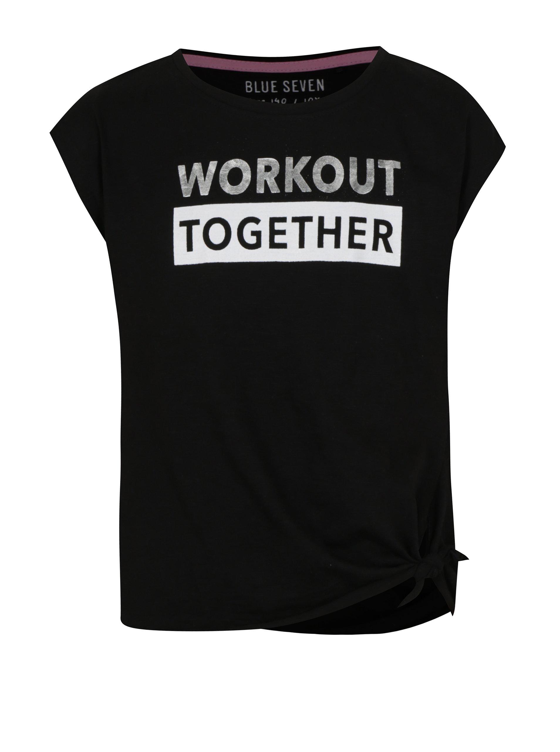 Čierne dievčenské tričko s nápisom v striebornej farbe a uzlom Blue Seven