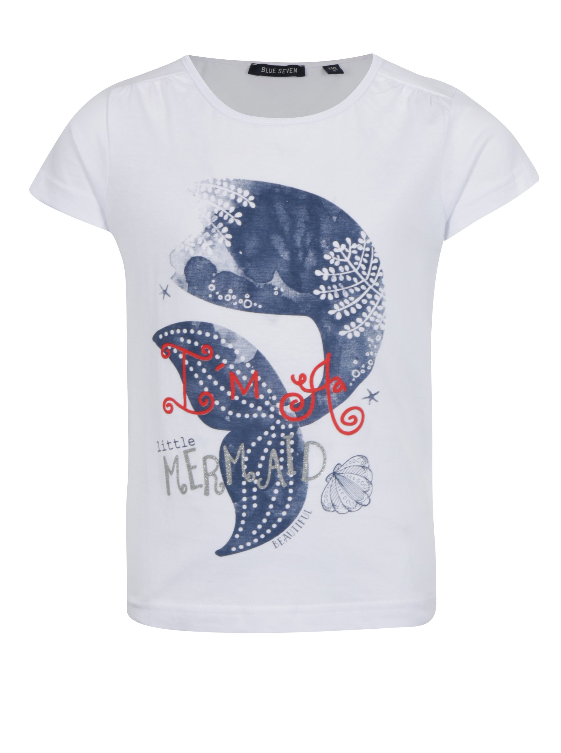 Bílé holčičí tričko s potiskem mořské panny Blue Seven