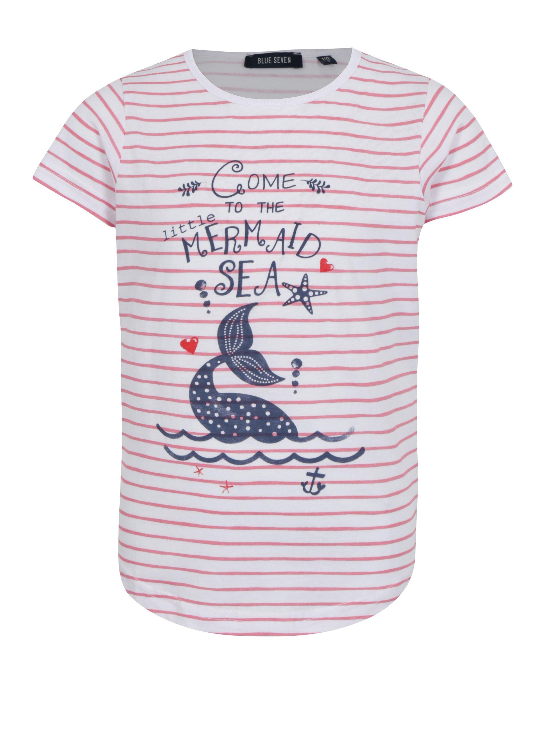 Červeno-biele dievčenské pruhované tričko s potlačou Blue Seven