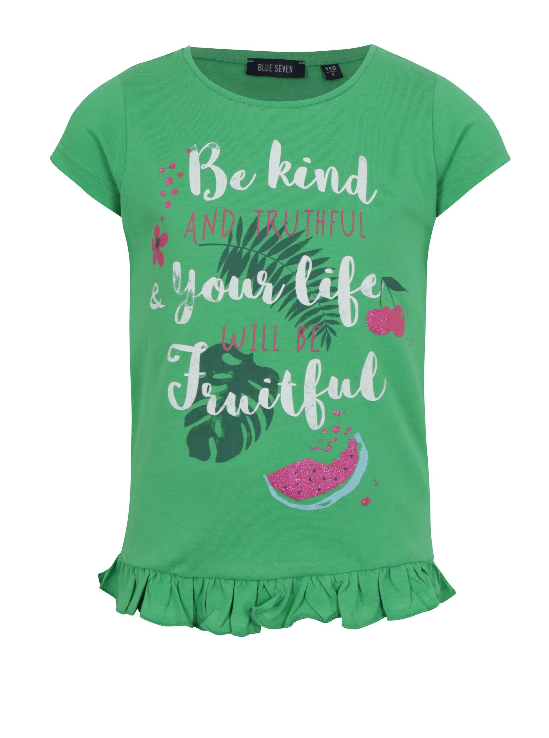 Zelené dievčenské tričko s volánom na spodnom leme Blue Seven