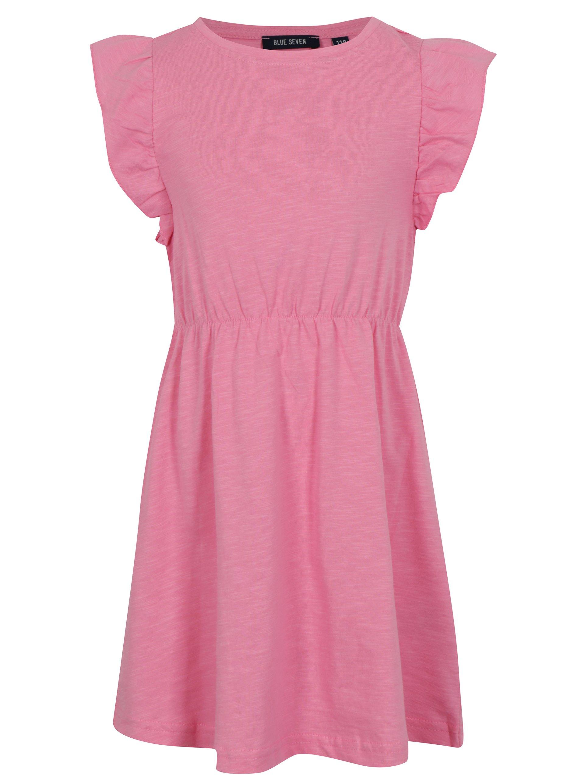 Svetloružové dievčenské šaty s volánmi Blue Seven