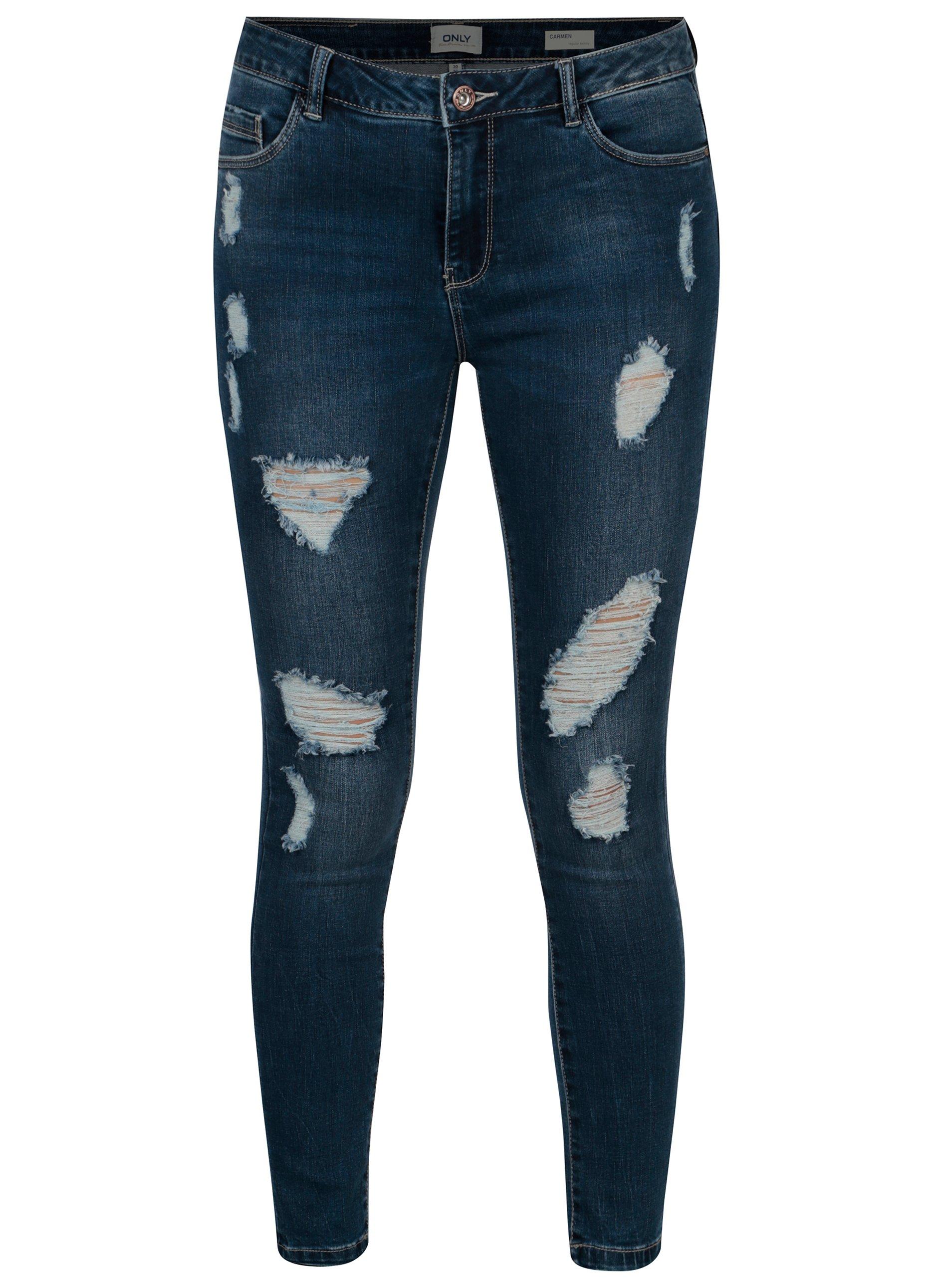 Modré džíny s potrhaným efektem ONLY Carmen