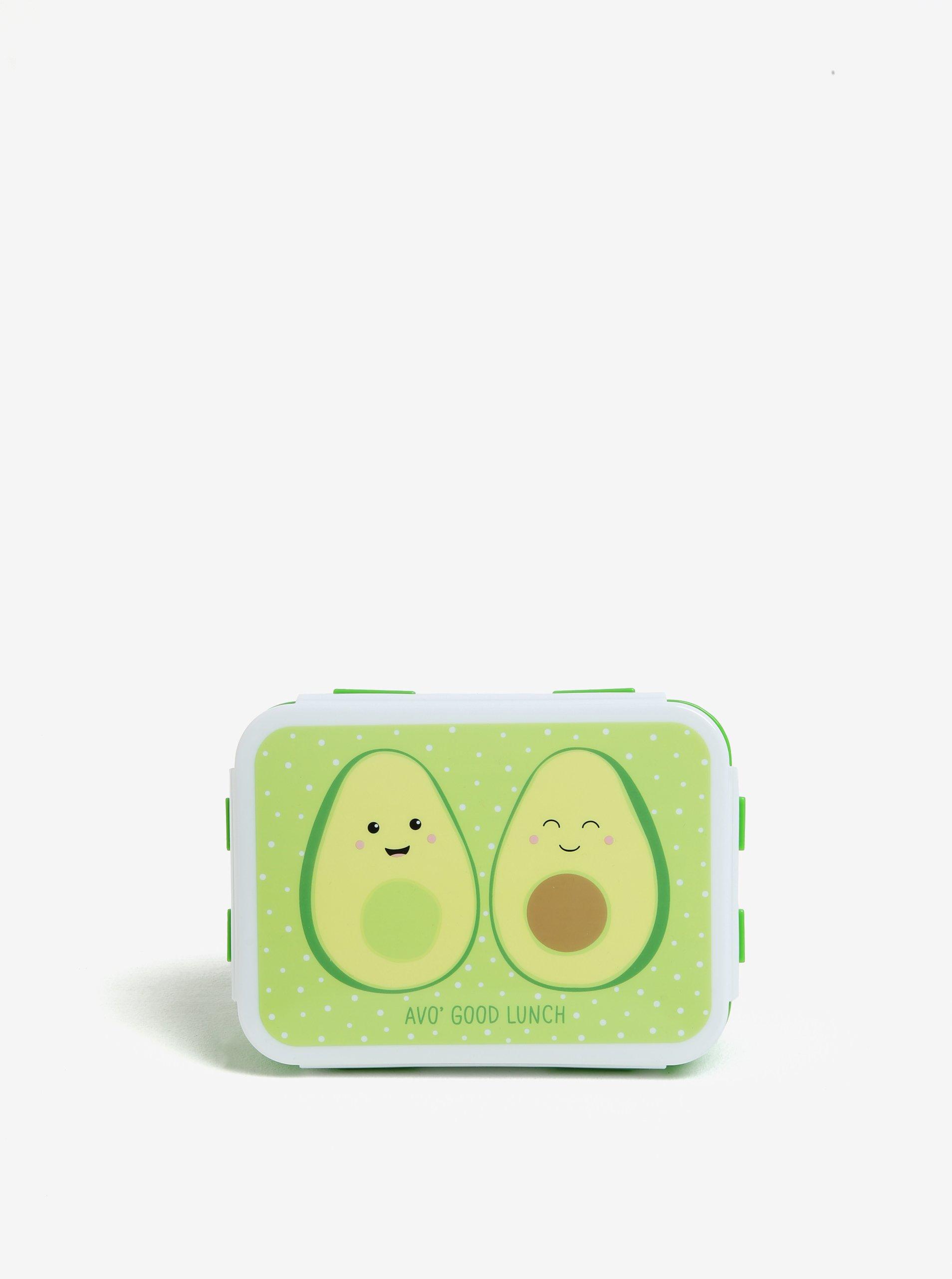 Zelený box na jedlo s potlačou avokáda Sass & Belle