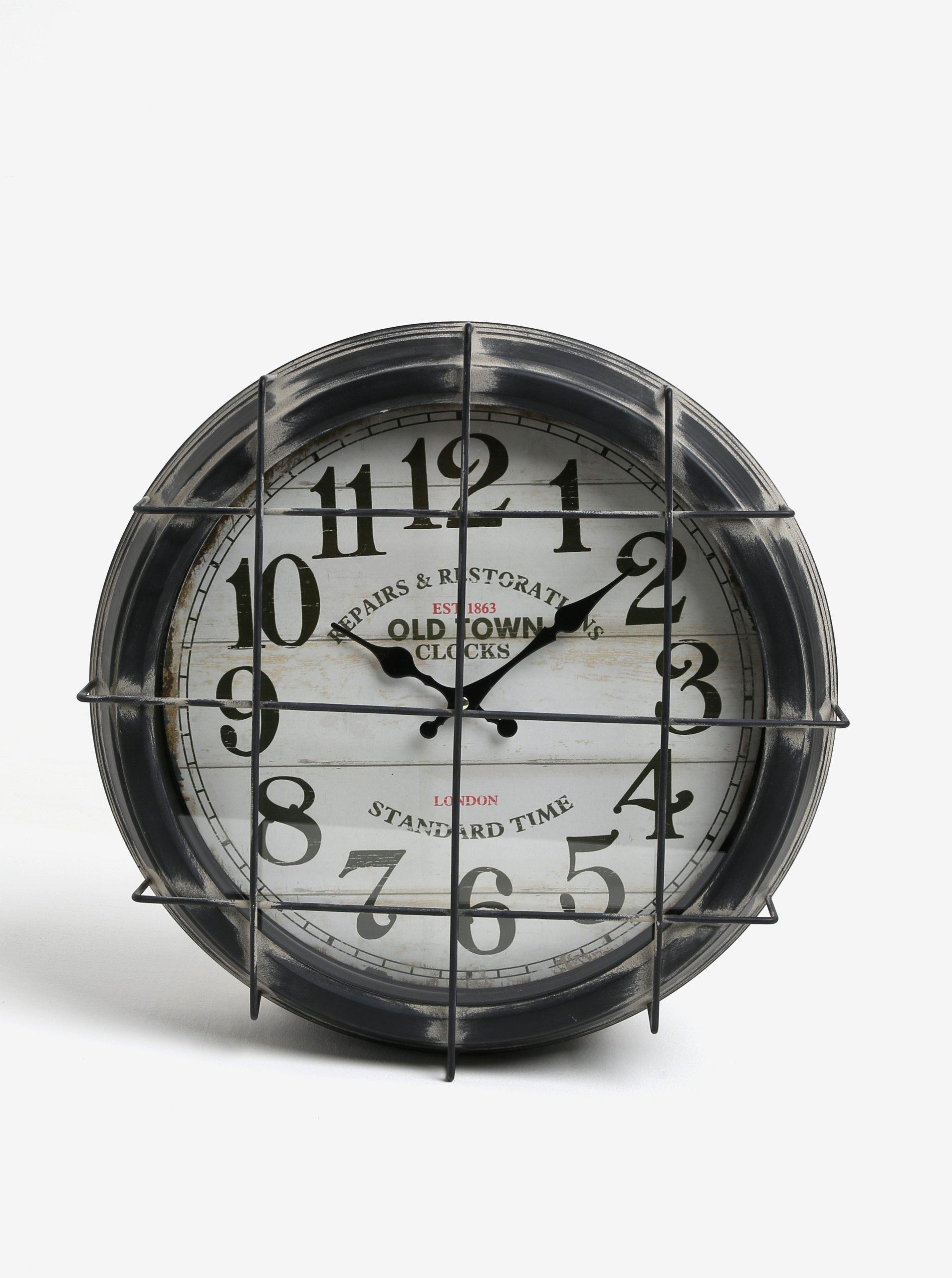 Tmavě šedé kovové nástěnné hodiny Kaemingk 92aa370266