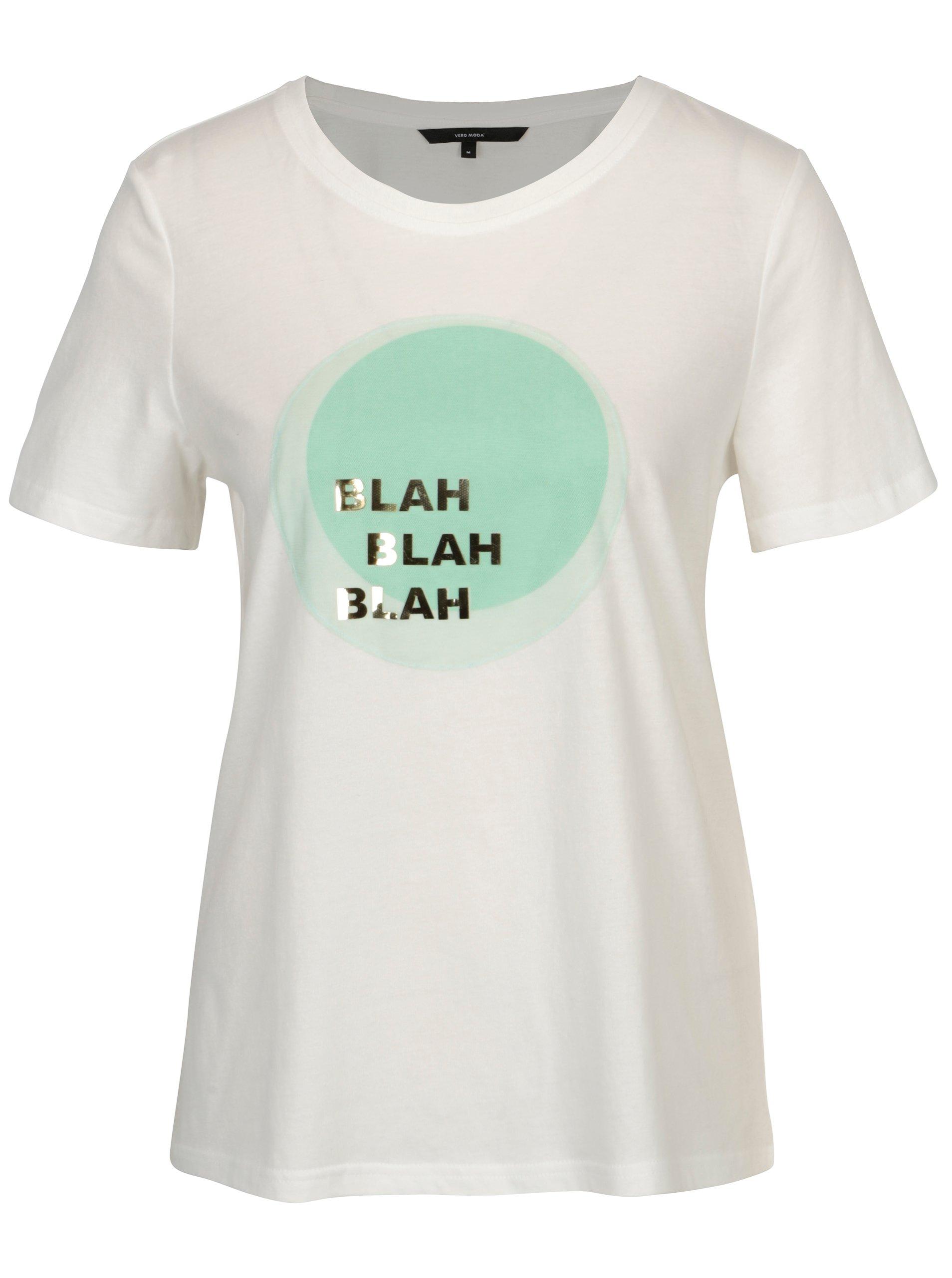 Krémové tričko s motivem kruhu VERO MODA Jenny