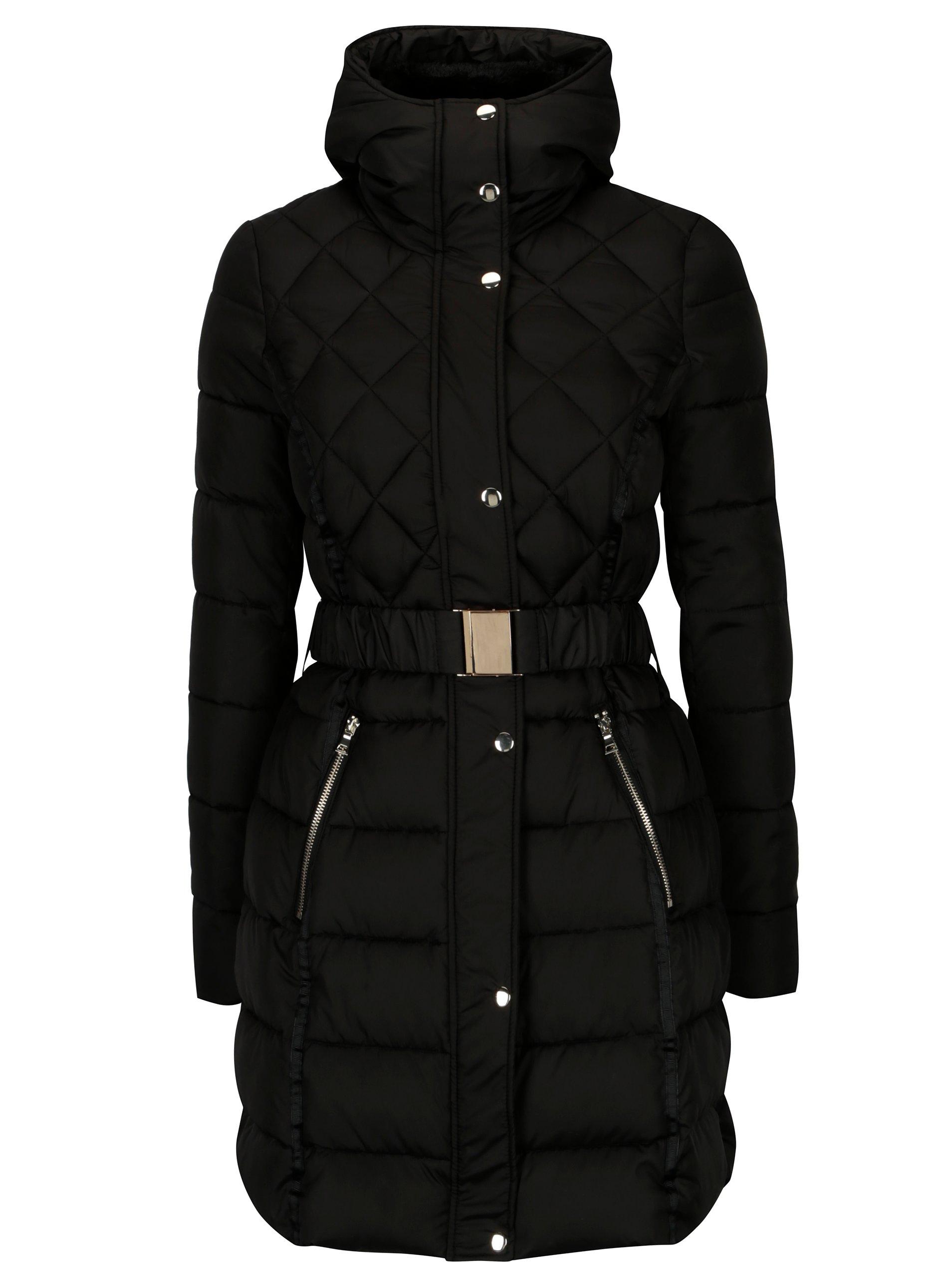 Čierna prešívaná bunda s kožúškom Dorothy Perkins