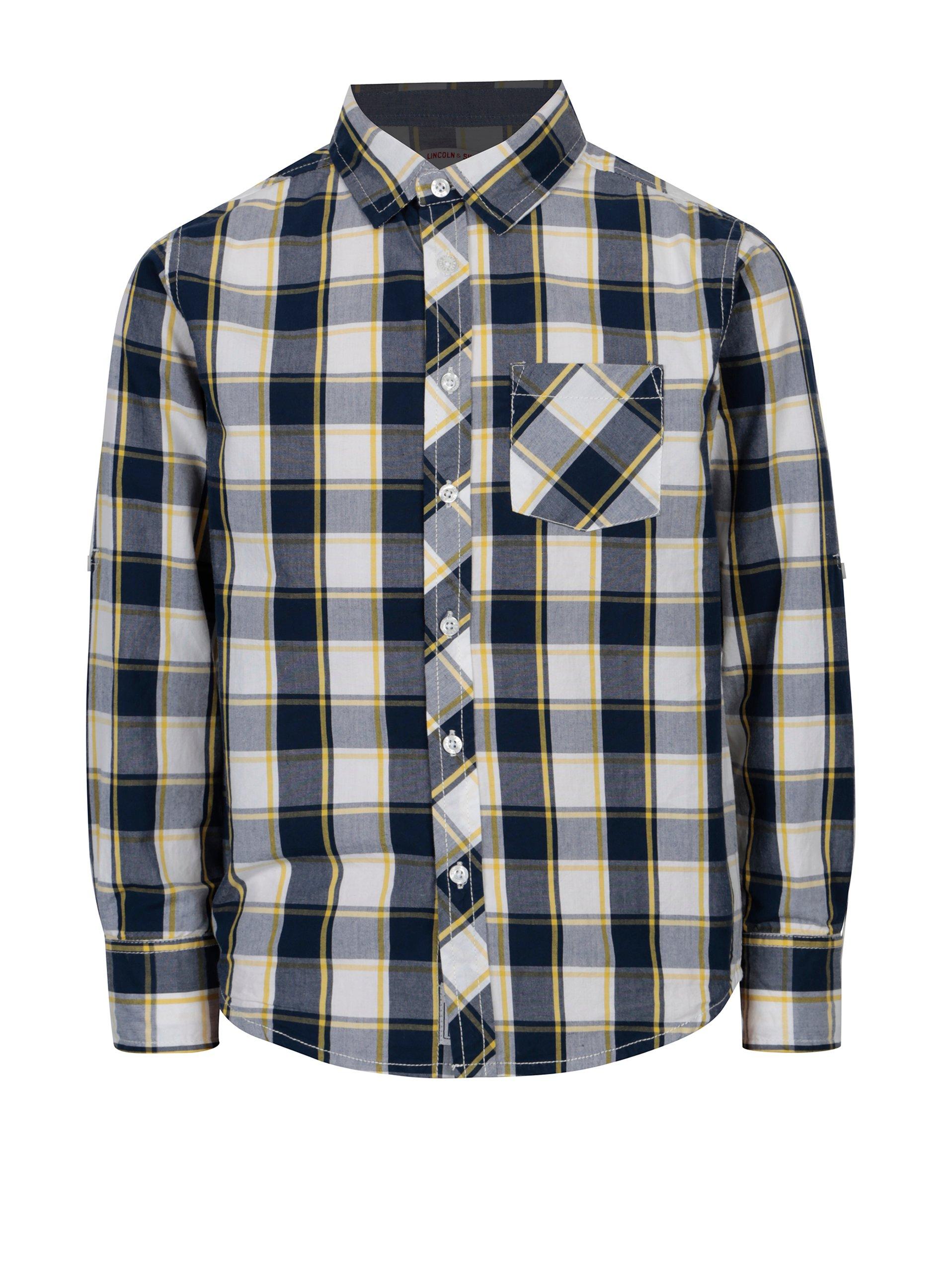 6e76e00d8d83 Modrá chlapčenská károvaná košeľa s dlhým rukávom 5.10.15.