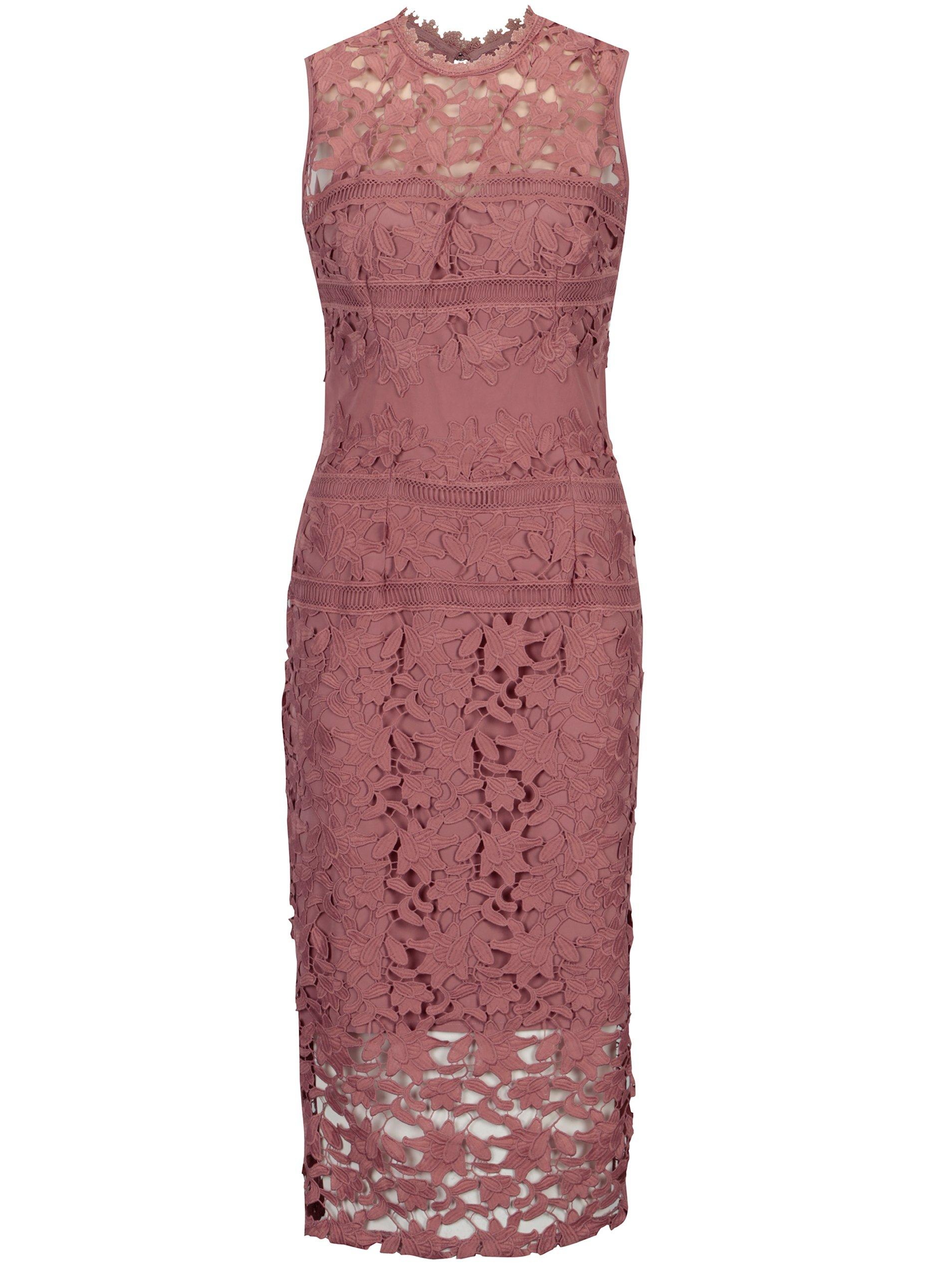 89ca7d0c3377 Ružové čipkované šaty bez rukávov Little Mistress